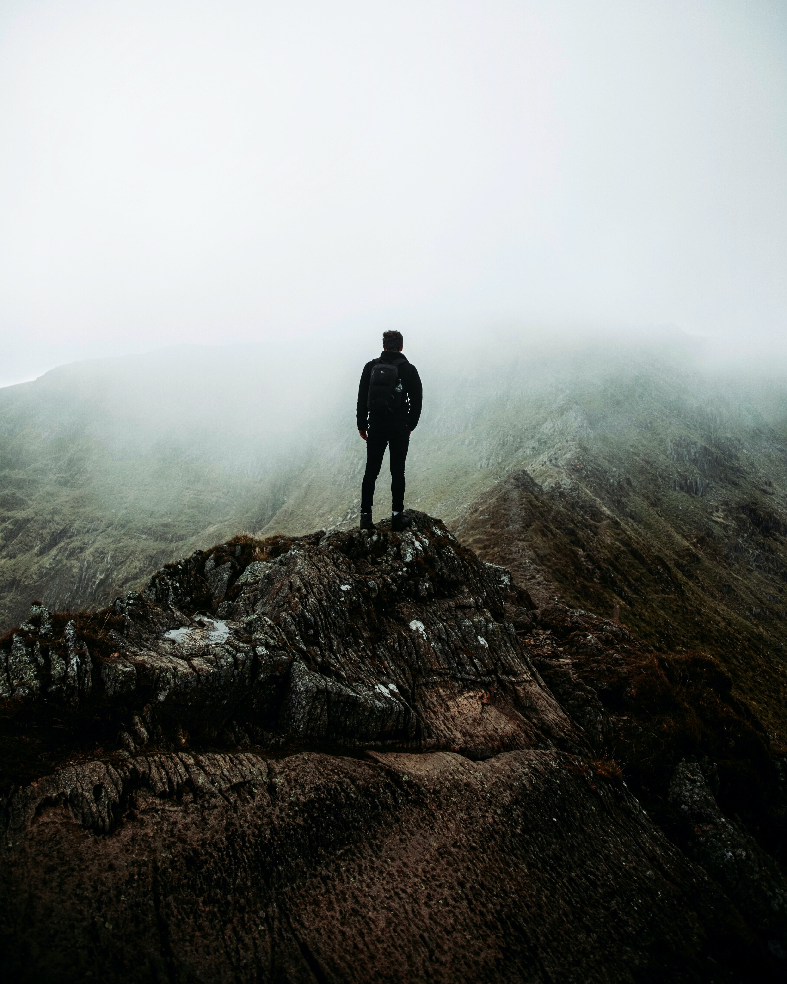 135989 free wallpaper 2160x3840 for phone, download images Rocks, Miscellanea, Miscellaneous, Fog, Human, Person, Loneliness, Alone, Lonely 2160x3840 for mobile
