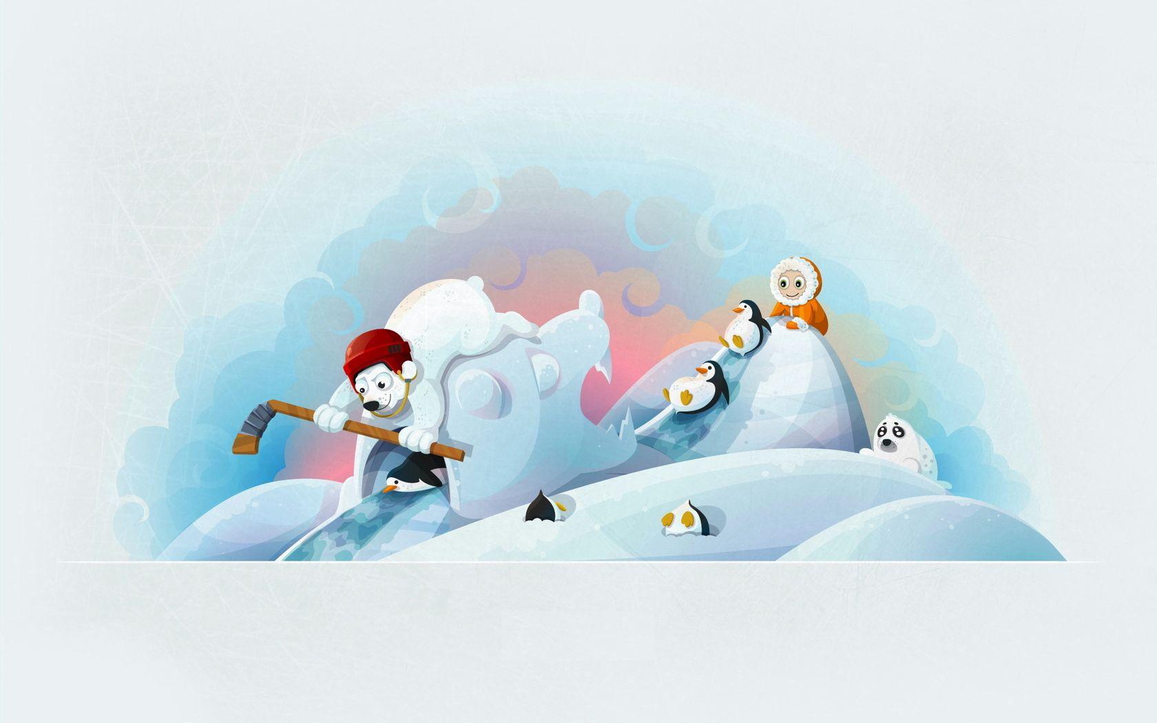 52646 Заставки и Обои Медведи на телефон. Скачать Зима, Арт, Медведи, Хоккей, Клюшка, Ребёнок, Пингвин, Веселье, Тюлень картинки бесплатно