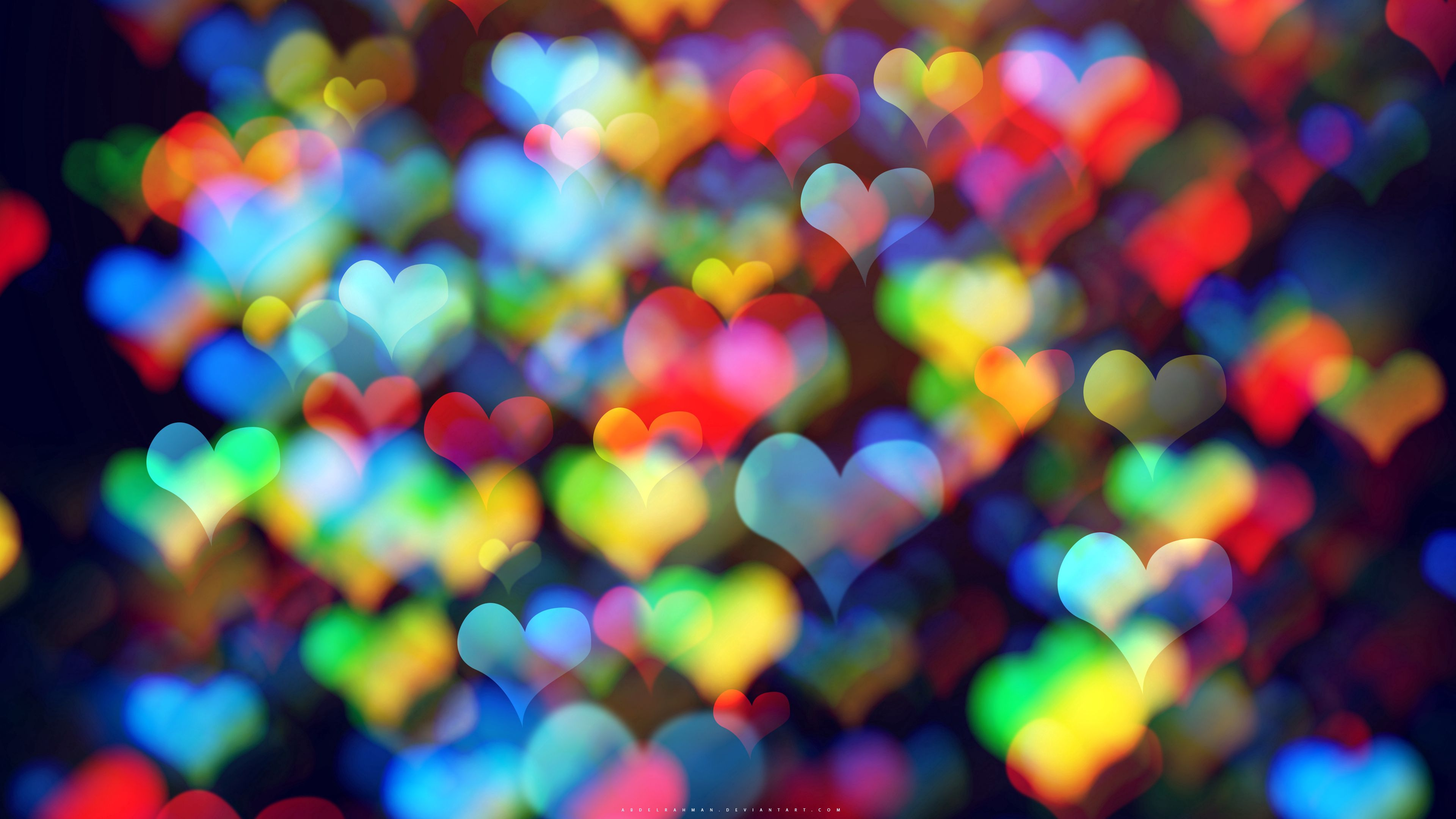 83206 download wallpaper Abstract, Hearts, Multicolored, Motley, Bokeh, Boquet screensavers and pictures for free