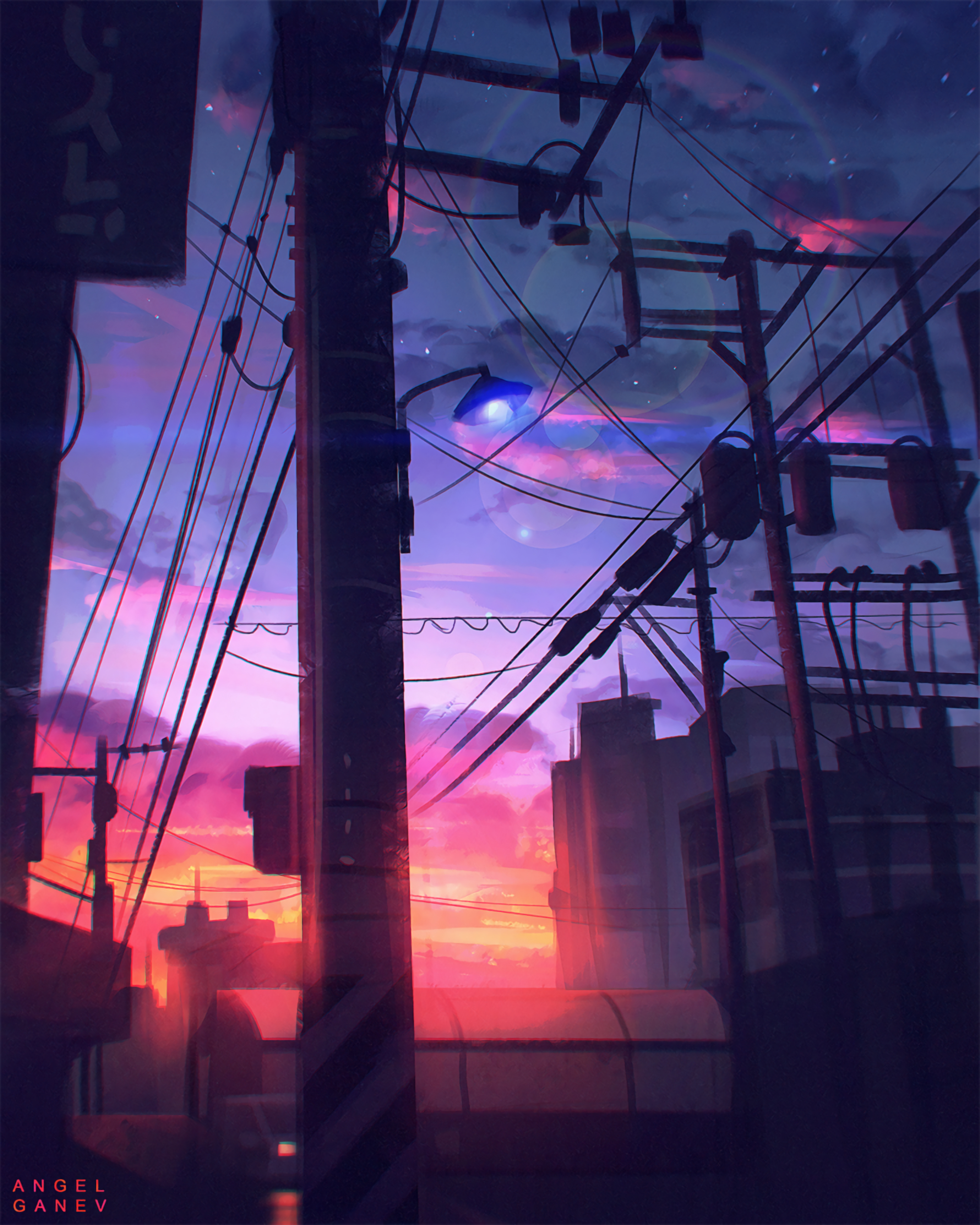 101356 Screensavers and Wallpapers Art for phone. Download Art, Sky, Twilight, Dusk, Pillars, Posts, Wires, Wire pictures for free