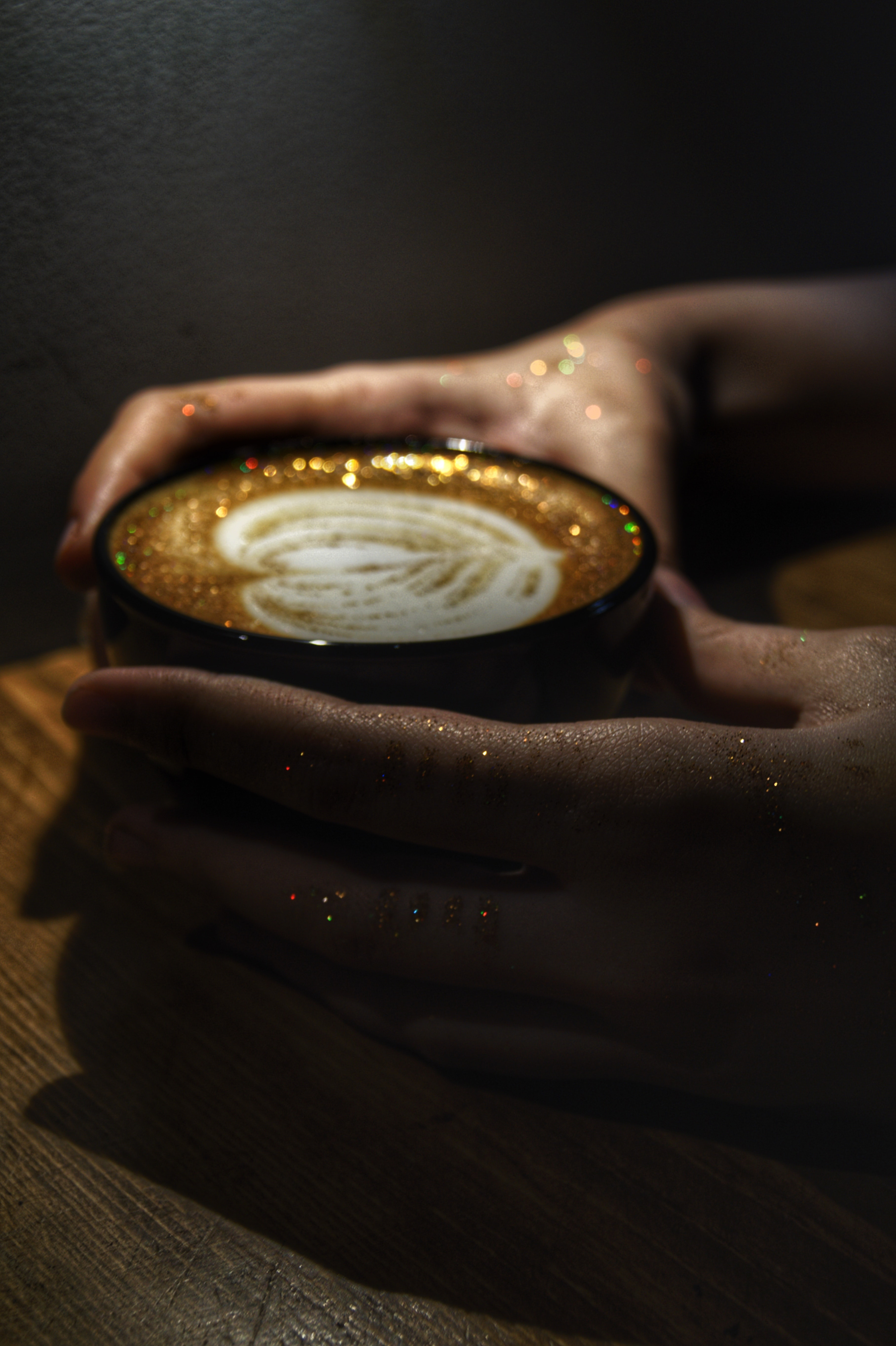 105828 download wallpaper Food, Cappuccino, Coffee, Cup, Mug, Hands, Sequins, Tinsel screensavers and pictures for free