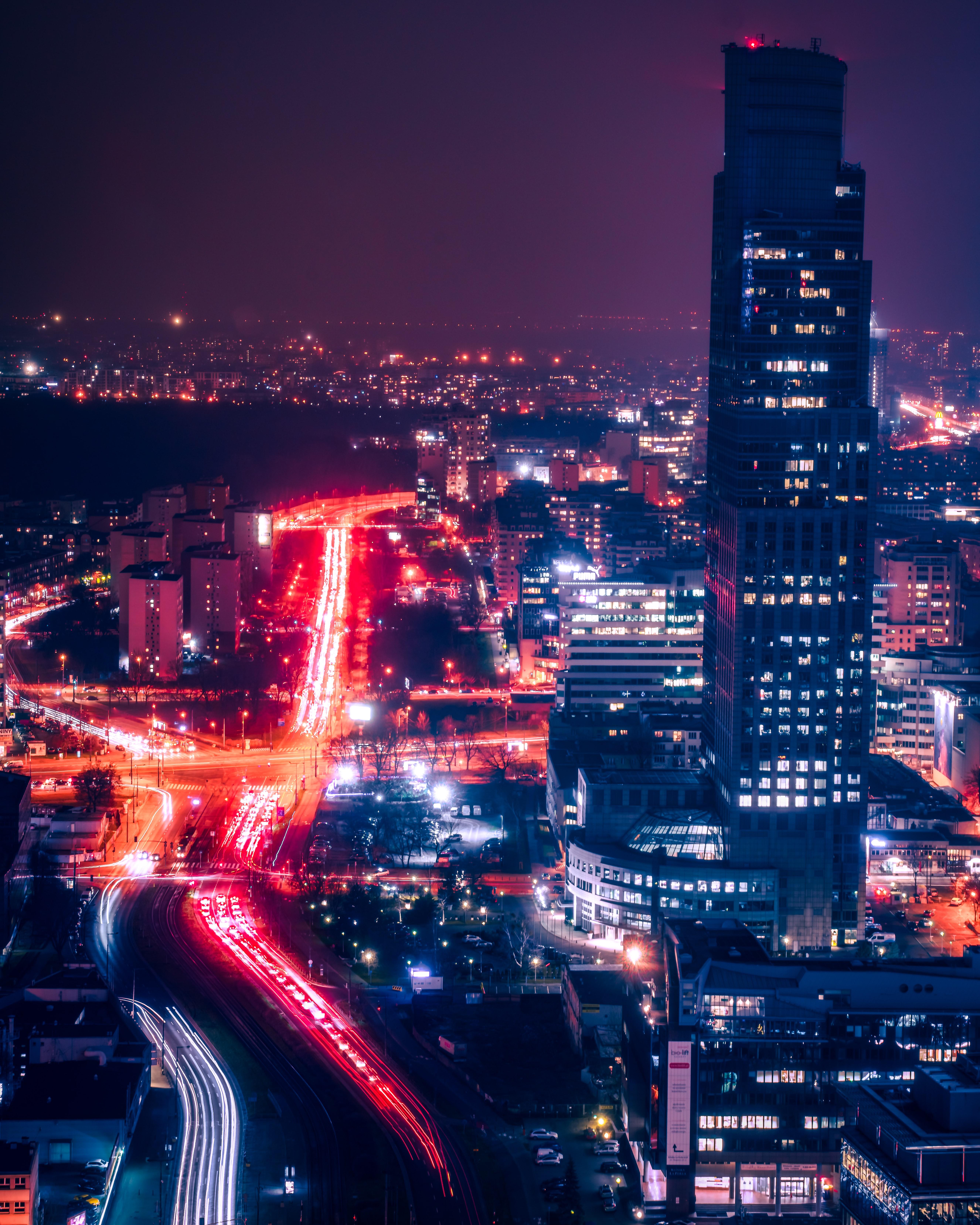 79177 Hintergrundbild herunterladen Städte, Roads, Gebäude, Die Lichter, Lichter, Blick Von Oben, Dunkel, Nächtliche Stadt, Night City - Bildschirmschoner und Bilder kostenlos