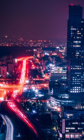79177 Screensavers and Wallpapers Roads for phone. Download Night City, View From Above, Building, Roads, Lights, Dark, Cities pictures for free