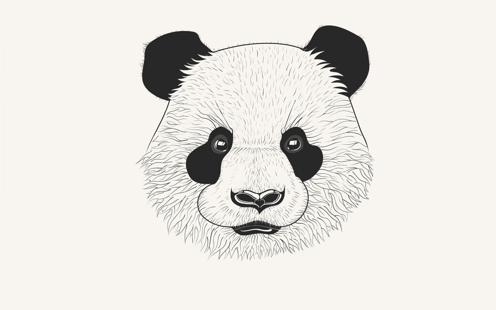138734 download wallpaper Minimalism, Panda, Art, Muzzle screensavers and pictures for free