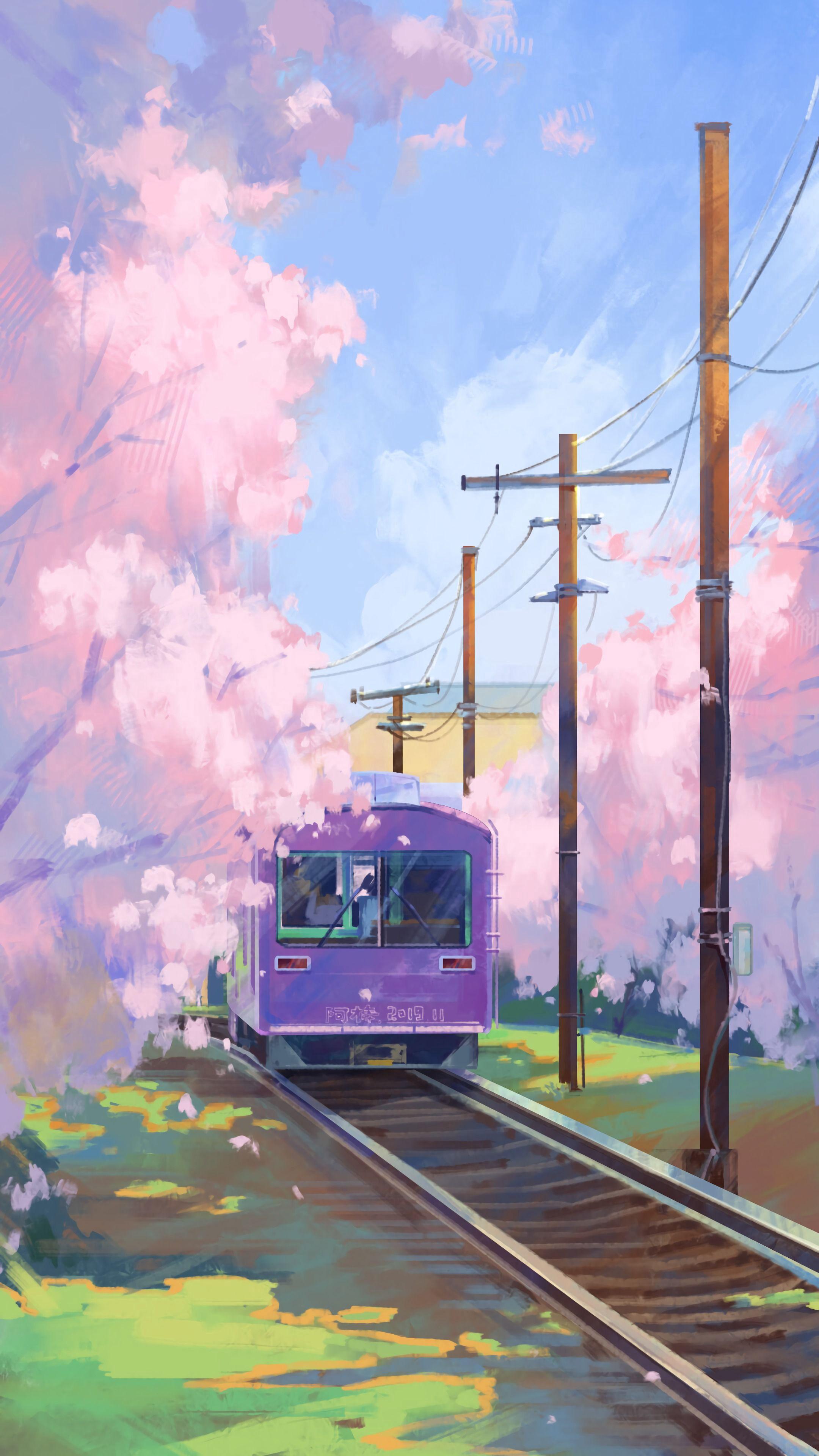 72194 скачать обои Поезд, Арт, Краска, Рельсы - заставки и картинки бесплатно