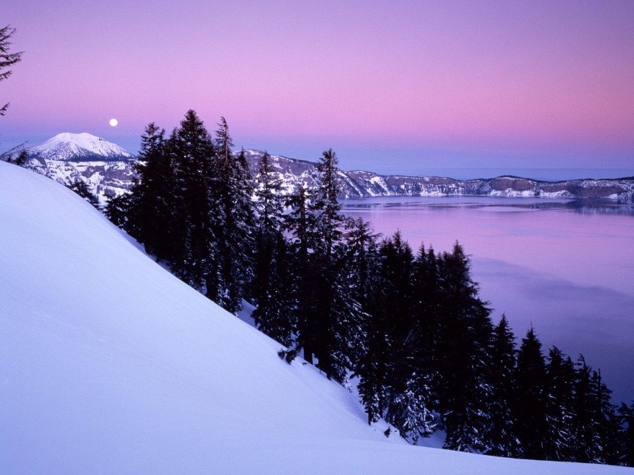 26666 免費下載壁紙 景观, 冬天, 树, 山, 海, 雪 屏保和圖片