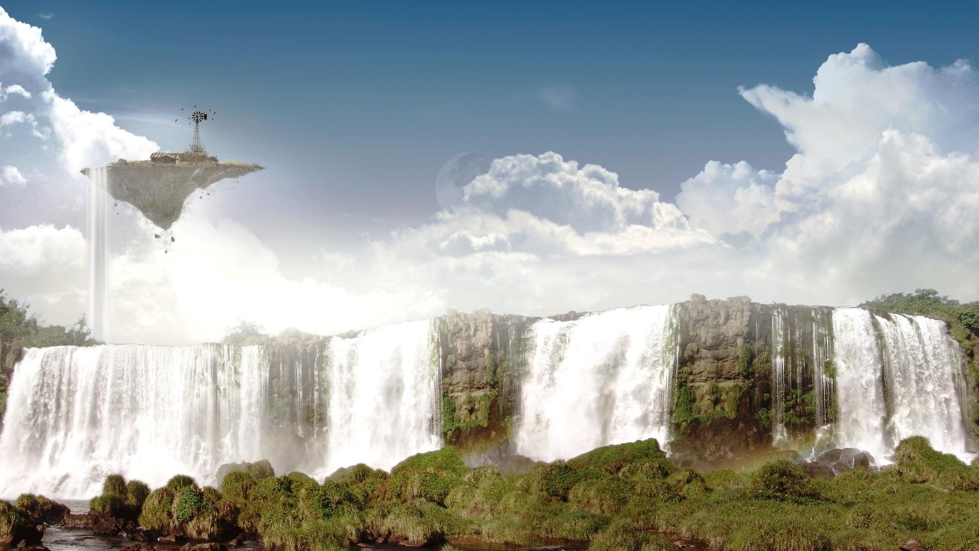 34310 скачать обои Пейзаж, Фэнтези, Водопады - заставки и картинки бесплатно