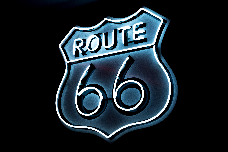64073壁紙のダウンロード言葉, 国道66号線, ルート66, ネオン, 数字, 番号, 碑文-スクリーンセーバーと写真を無料で
