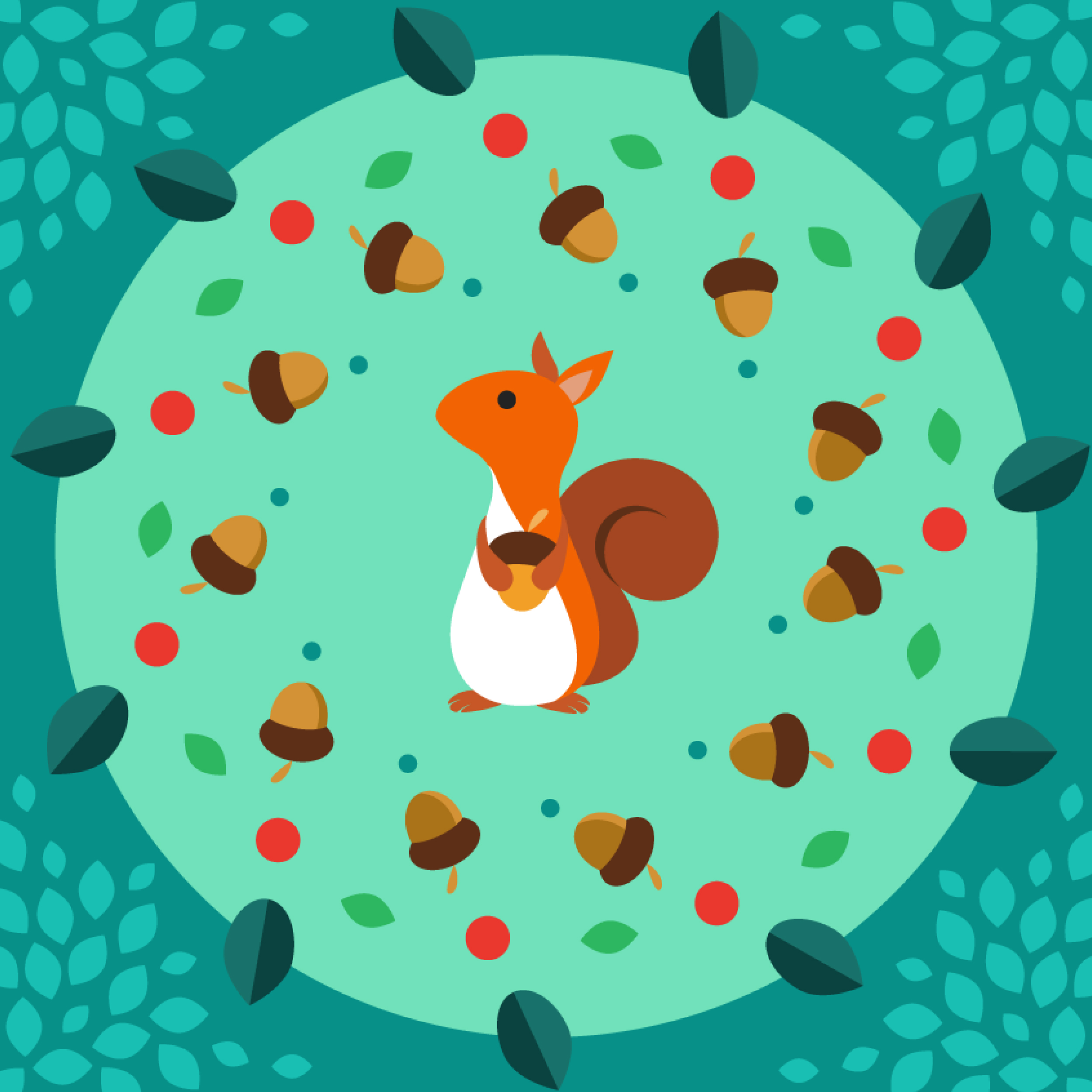 95956 download wallpaper Vector, Squirrel, Nuts, Acorn, Art screensavers and pictures for free