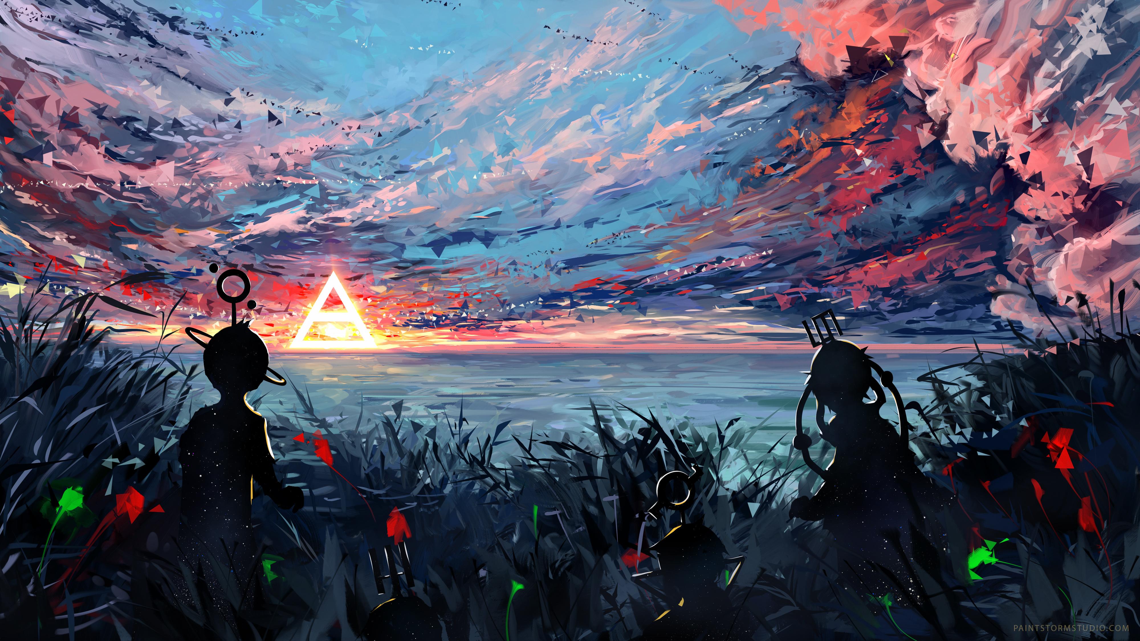 65864 Hintergrundbild herunterladen Sky, Kunst, Silhouette, Mehrfarbig, Motley, Flecken, Spots - Bildschirmschoner und Bilder kostenlos
