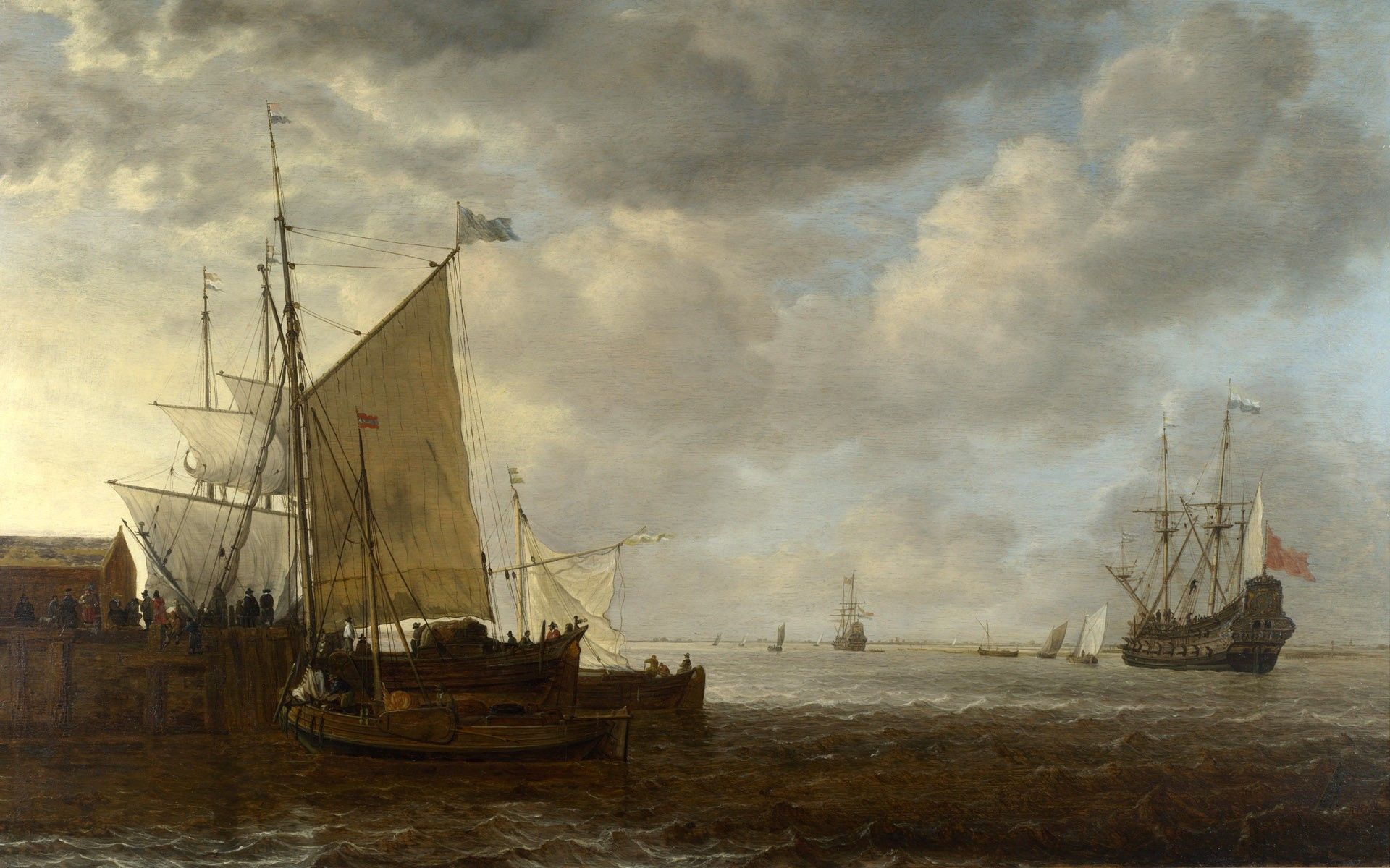 139278 download wallpaper Miscellanea, Miscellaneous, Ships, Sea, Storm, Picture, Canvas, Butter, Oil screensavers and pictures for free