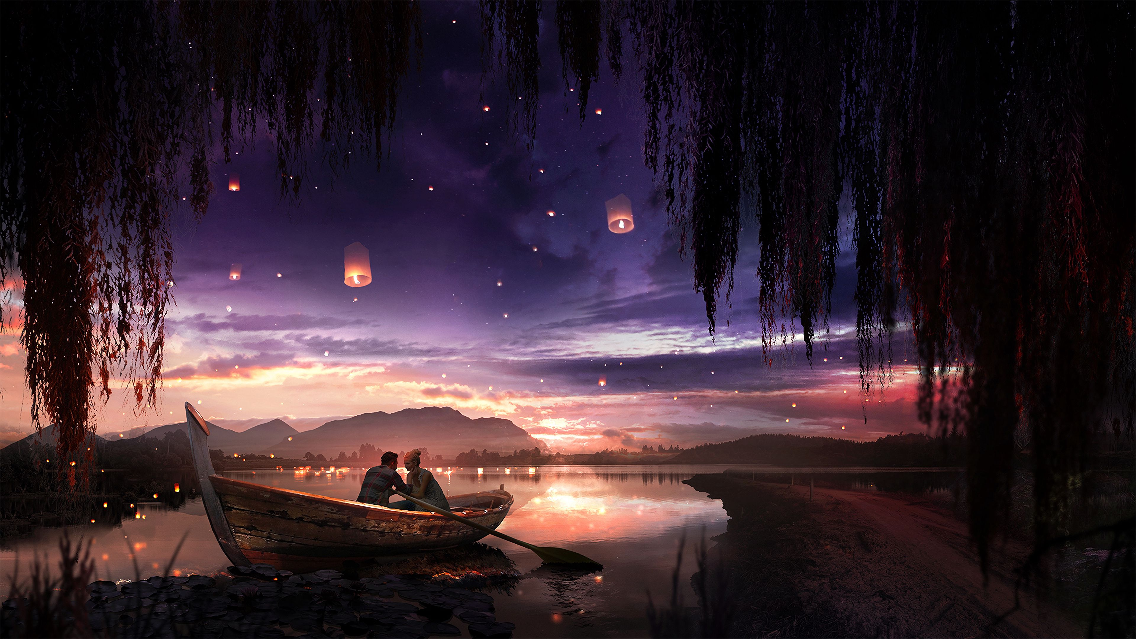 148907 download wallpaper Love, Boat, Couple, Pair, Night, Romance, Art, Stars screensavers and pictures for free