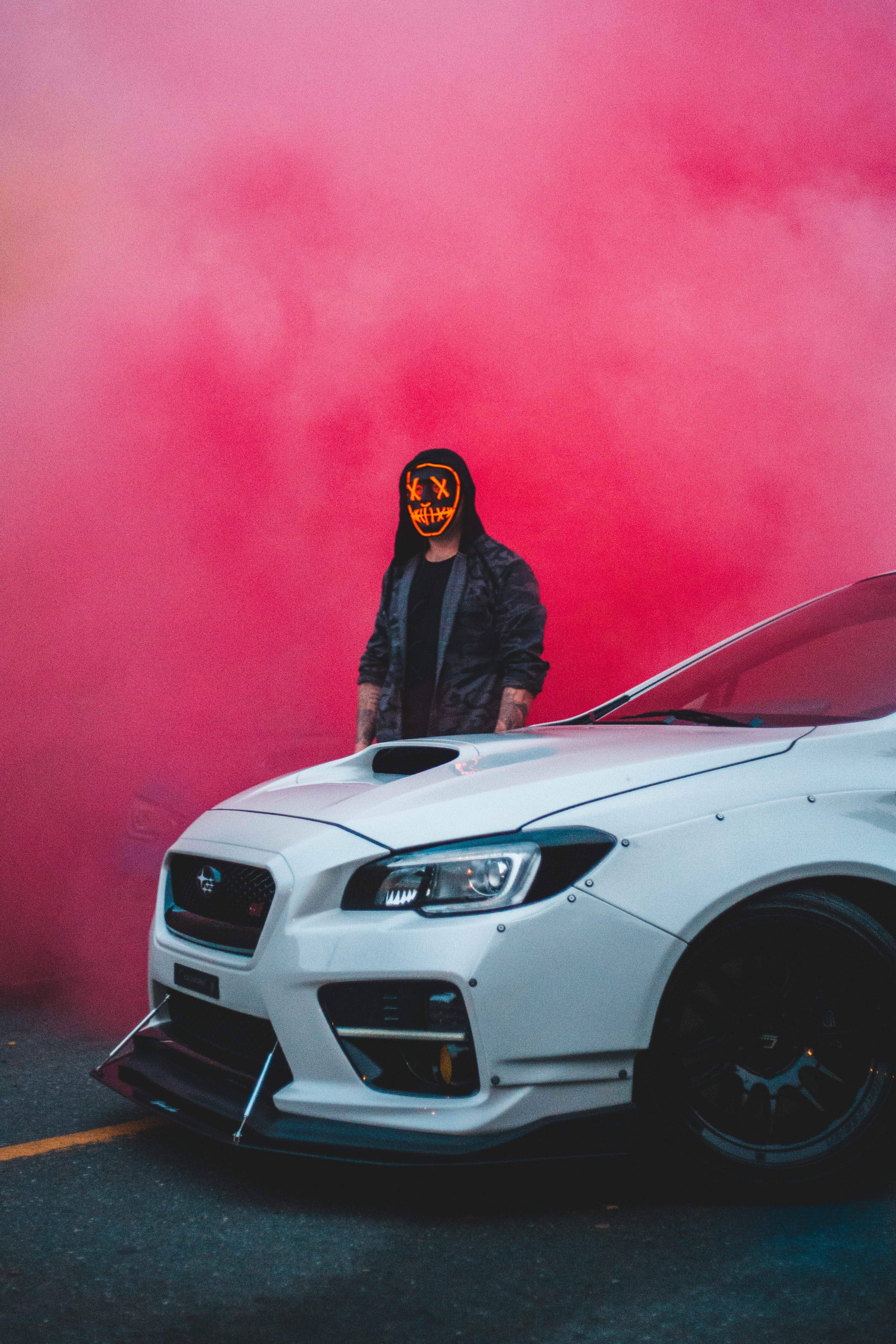 141416 download wallpaper Cars, Human, Person, Mask, Car, Machine, Cloud, Smoke screensavers and pictures for free