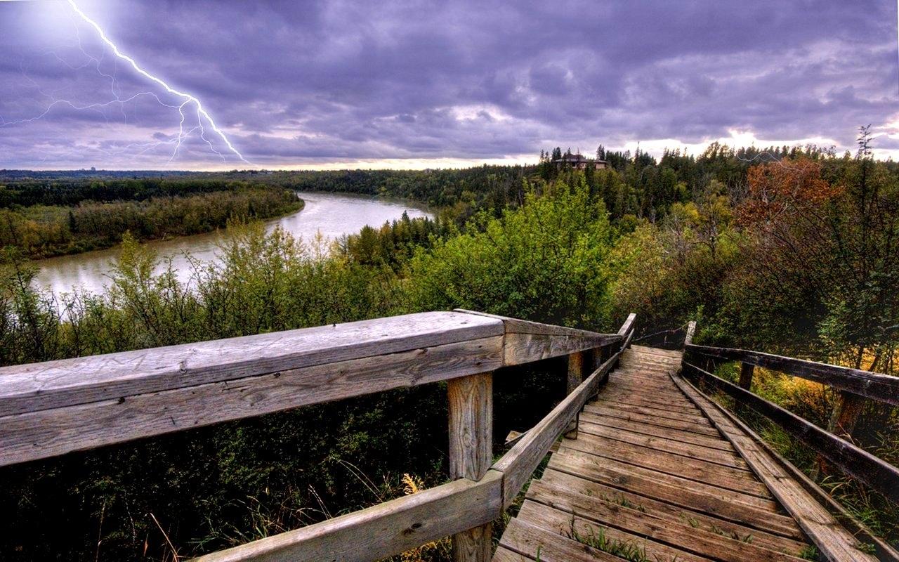 23500 скачать обои Пейзаж, Река, Деревья, Лестницы - заставки и картинки бесплатно