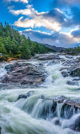 112763 скачать обои Природа, Водопад, Камни, Скалы, Вечер, Деревья, Пейзаж - заставки и картинки бесплатно