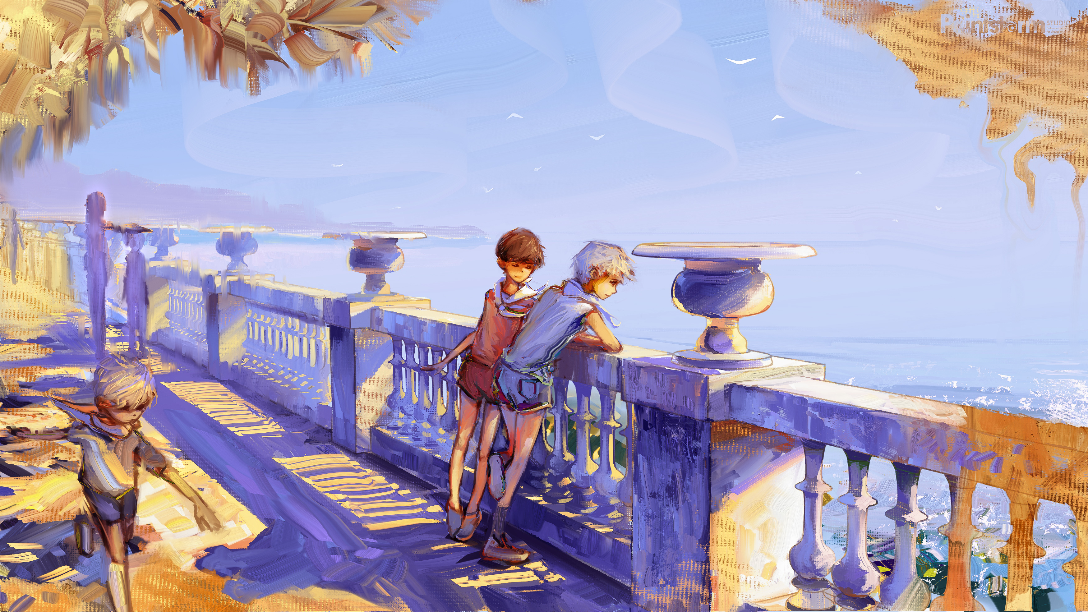 128477 download wallpaper Art, Children, Summer, Embankment, Quay, Boys screensavers and pictures for free