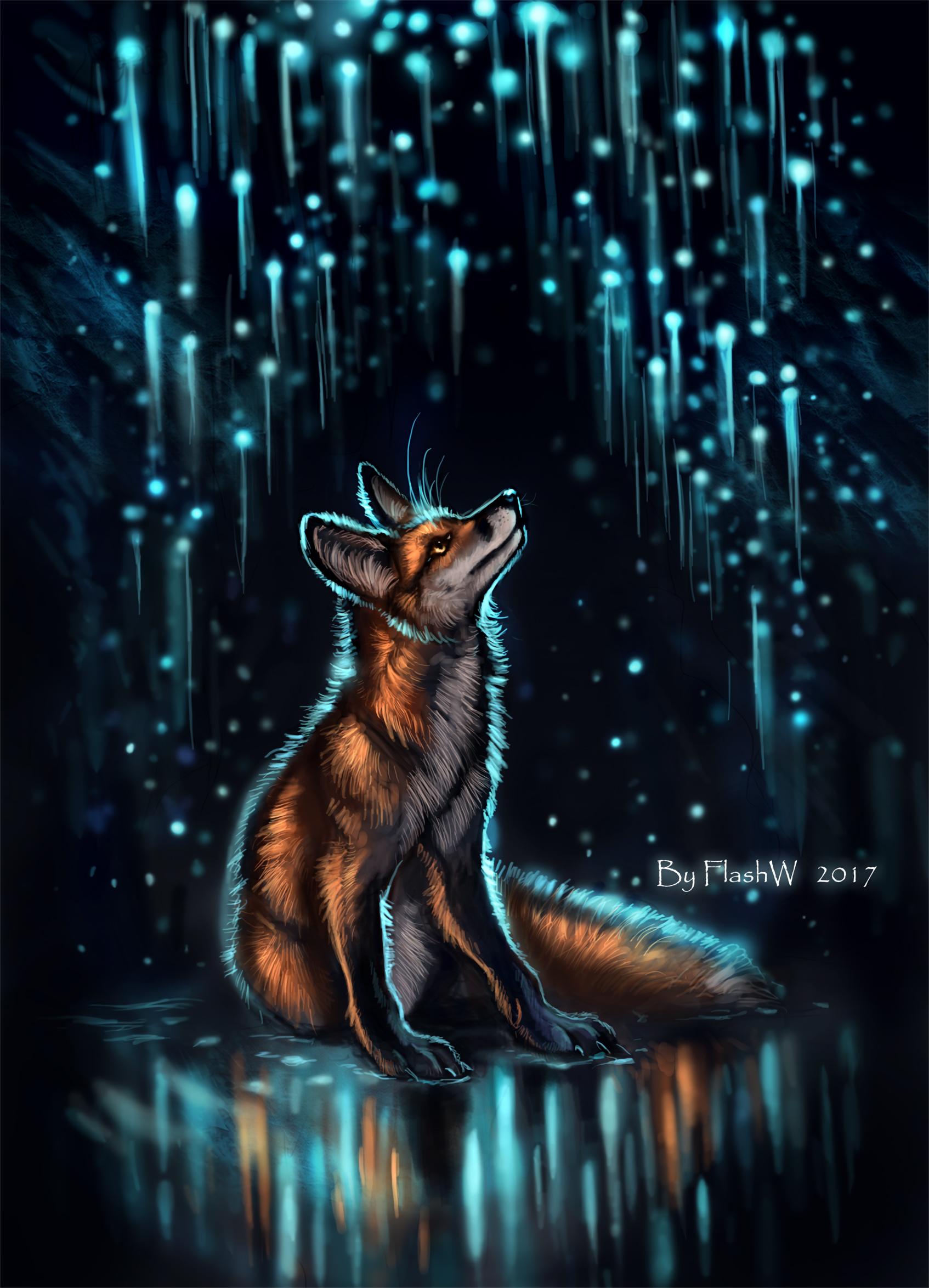 82308 Hintergrundbild herunterladen Übernachtung, Kunst, Blendung, Glühen, Glow, Ein Fuchs, Fuchs - Bildschirmschoner und Bilder kostenlos