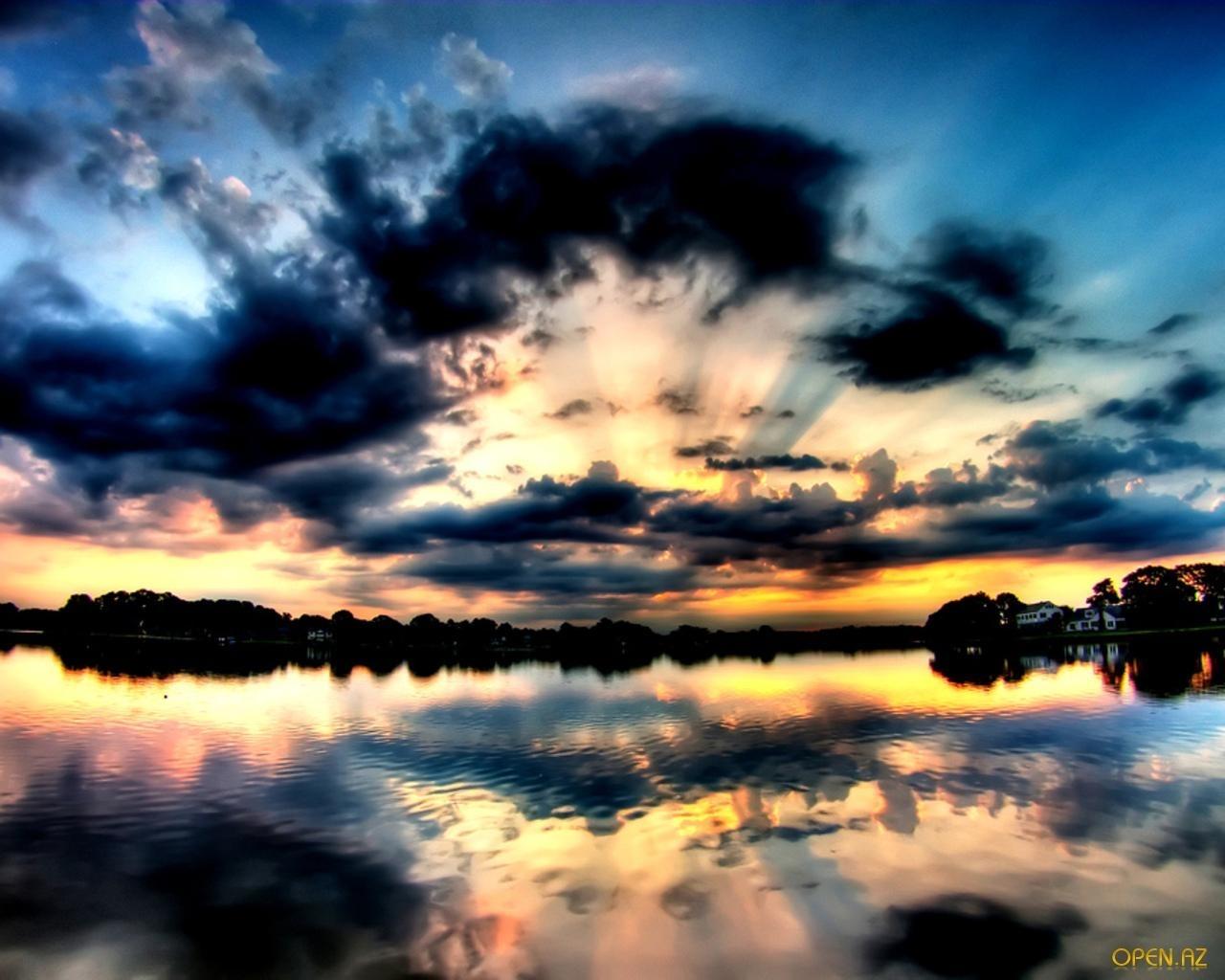 1101 скачать обои Пейзаж, Вода, Закат, Небо, Арт - заставки и картинки бесплатно