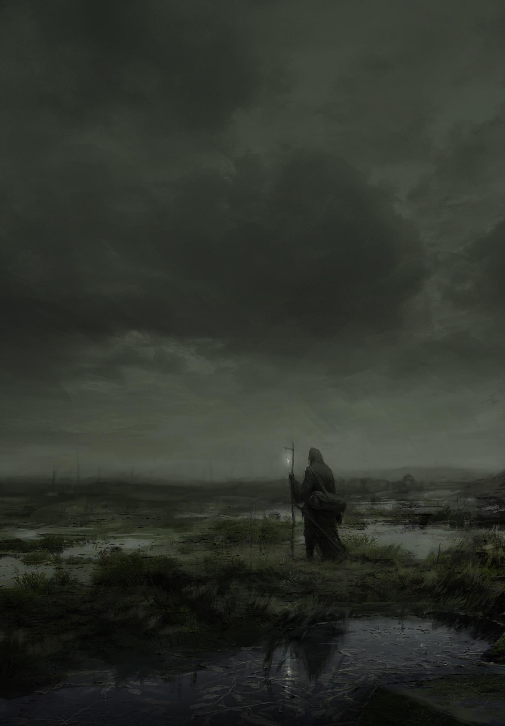 120698 скачать обои Темные, Мрачный, Арт, Туман, Одиночество, Странник, Мантия - заставки и картинки бесплатно