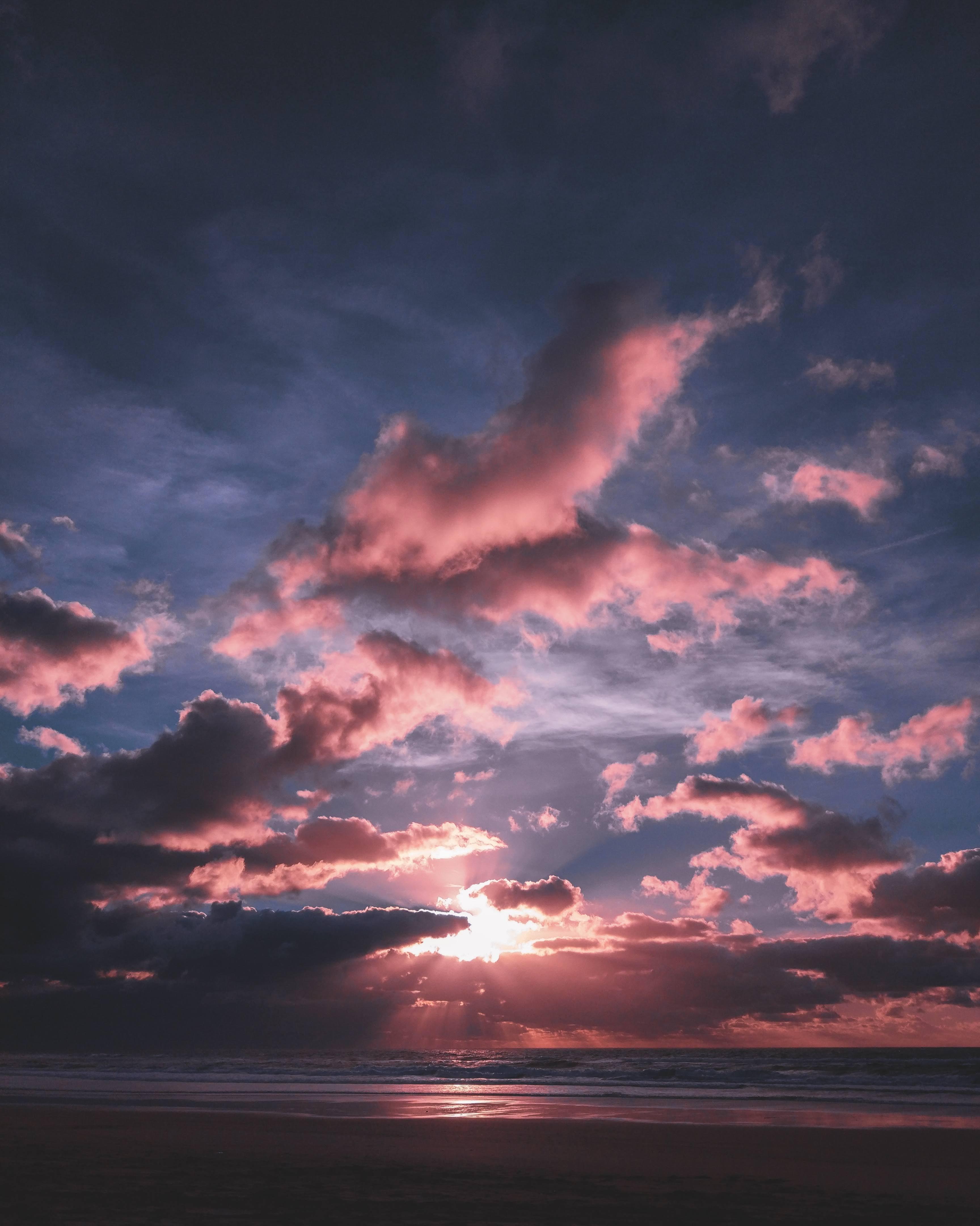 99886壁紙のダウンロード自然, ビーチ, 日没, ビーム, 光線, 海, 地平線-スクリーンセーバーと写真を無料で
