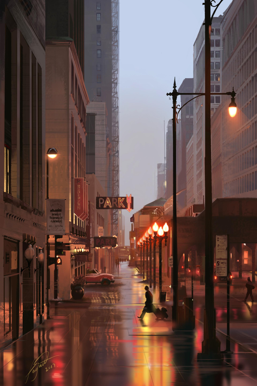 156471 Hintergrundbild herunterladen Kunst, Stadt, Gebäude, Lichter, Zeichen, Straße, Laternen, Street, Schilder - Bildschirmschoner und Bilder kostenlos