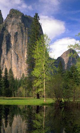 34455 скачать обои Пейзаж, Река, Деревья, Горы - заставки и картинки бесплатно