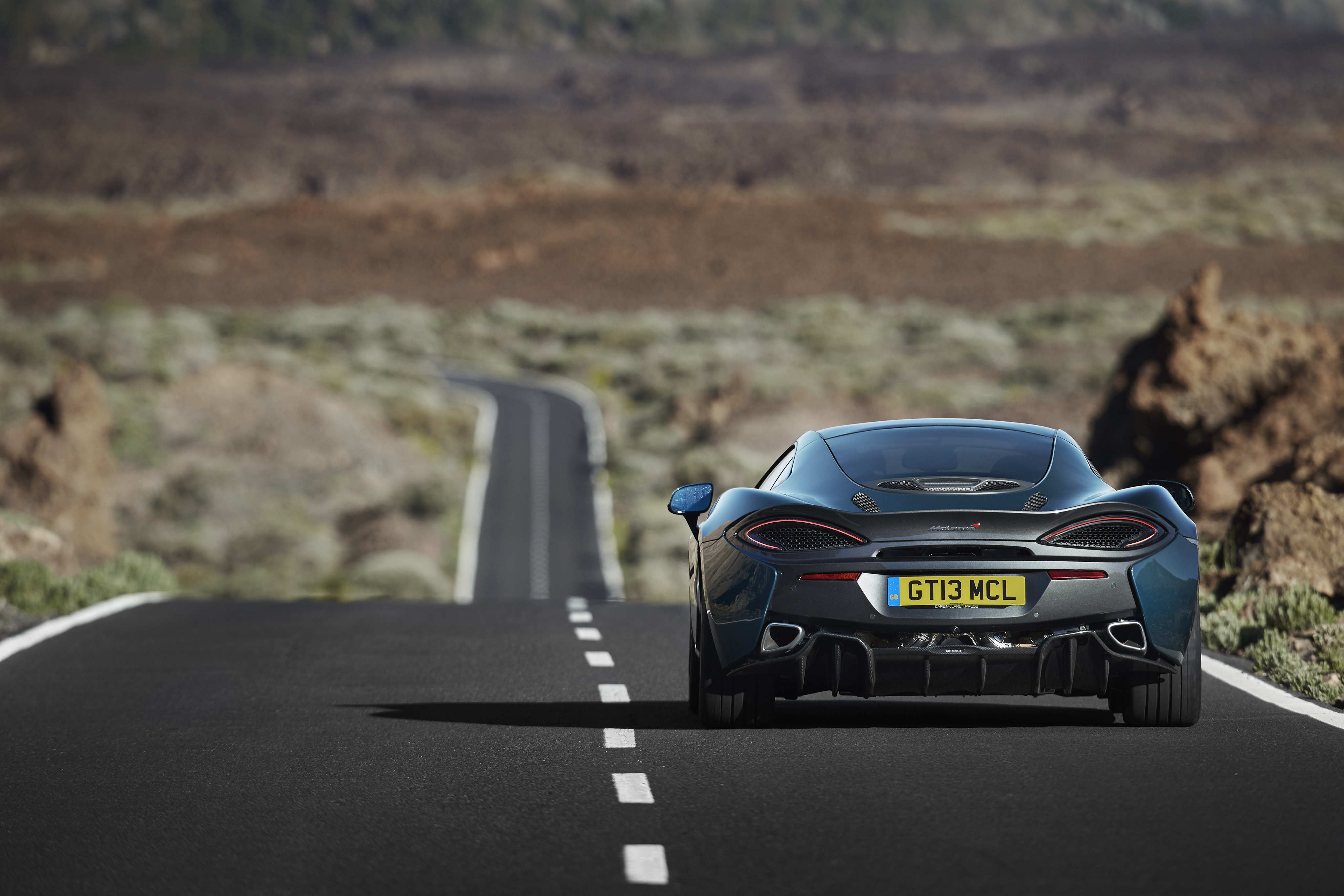 113698 download wallpaper Auto, Mclaren, Cars, Road, Back View, Rear View, 570Gt screensavers and pictures for free