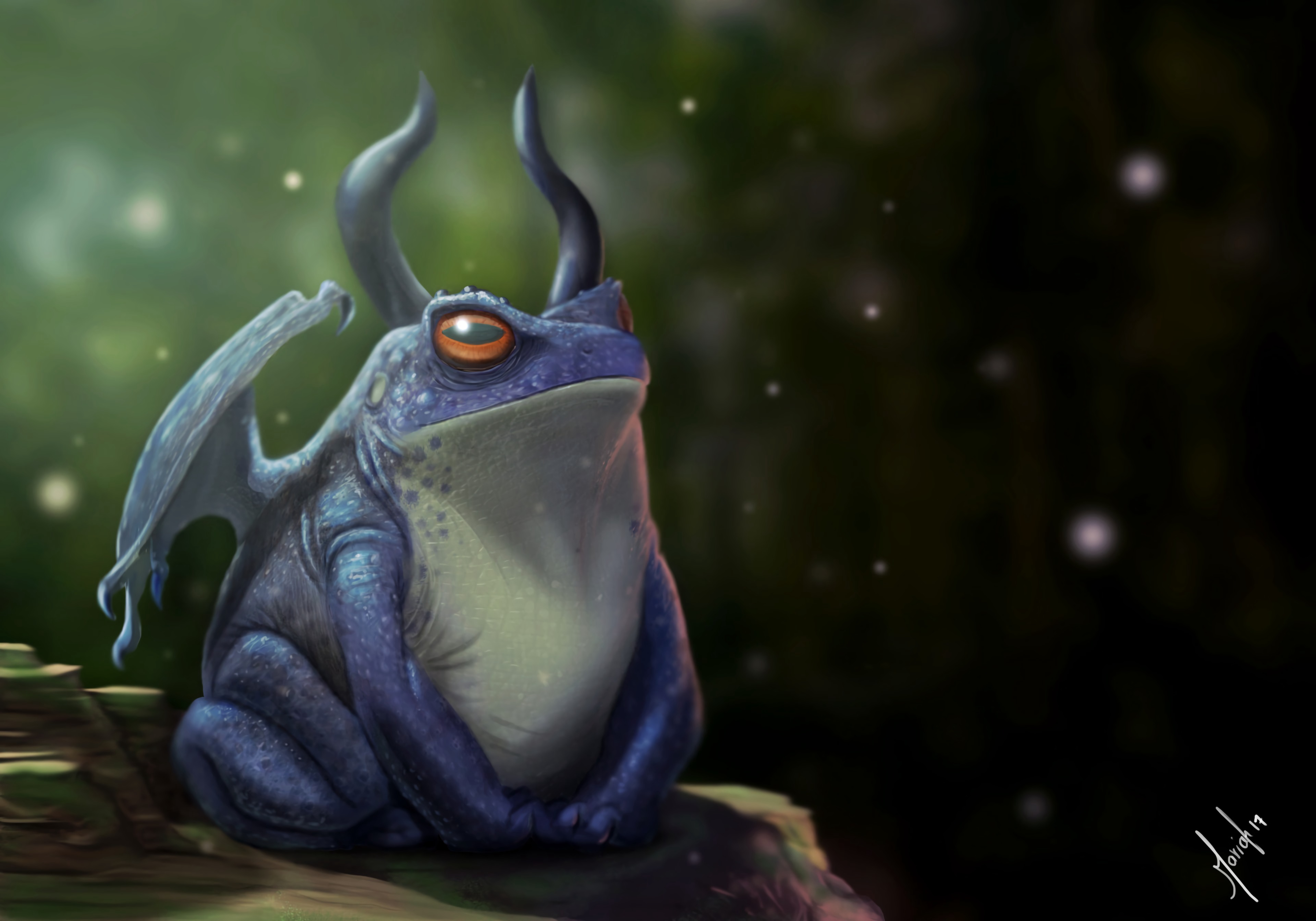 145886 download wallpaper Frog, Dragon, Horns, Art screensavers and pictures for free