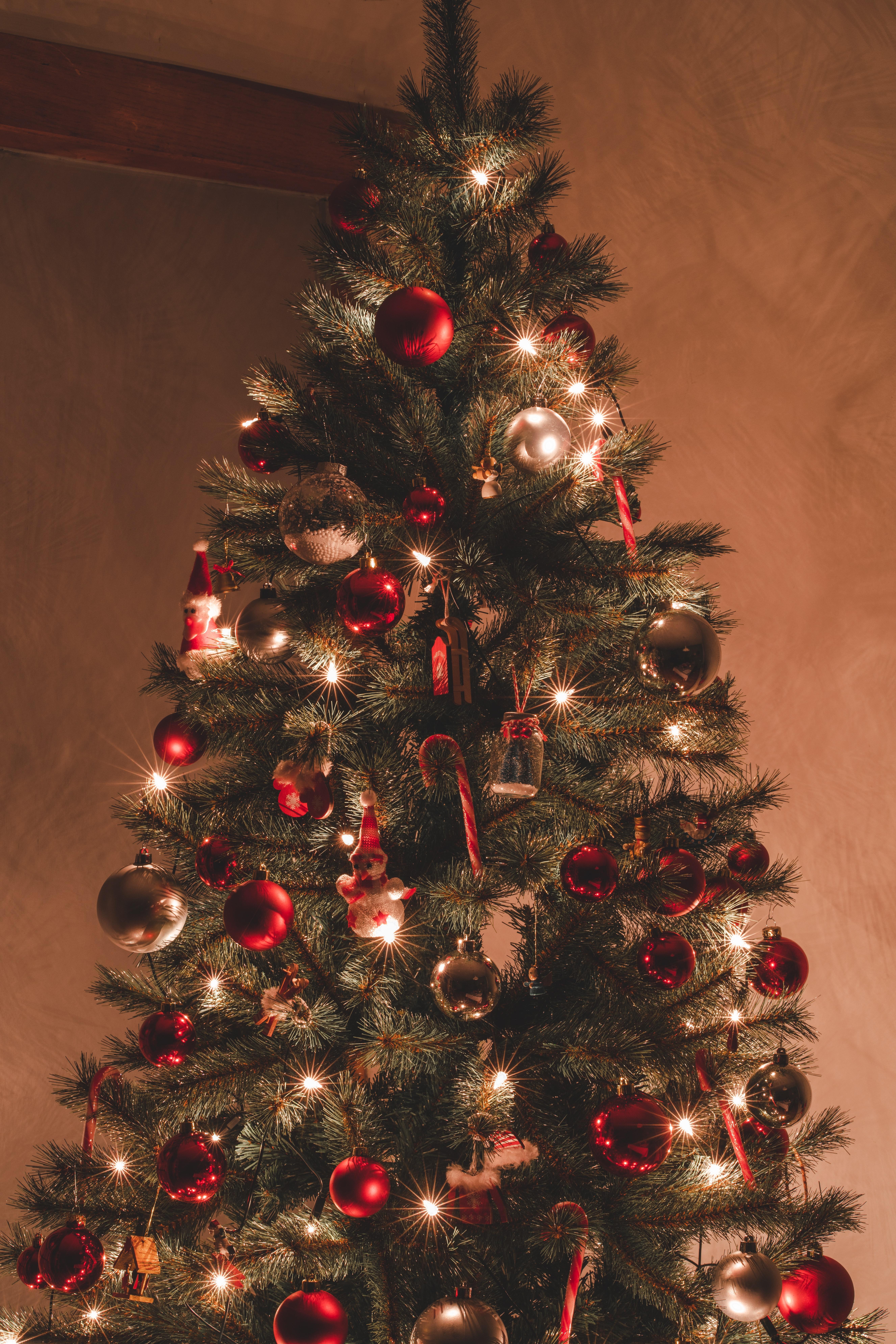 104155 скачать обои Праздники, Новый Год, Гирлянды, Украшения, Рождество, Праздник, Елка - заставки и картинки бесплатно