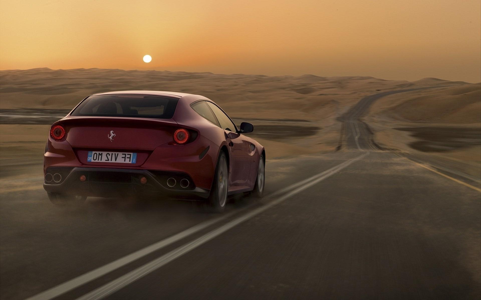 48949 скачать обои Транспорт, Пейзаж, Машины, Закат, Дороги, Феррари (Ferrari), Пустыня - заставки и картинки бесплатно
