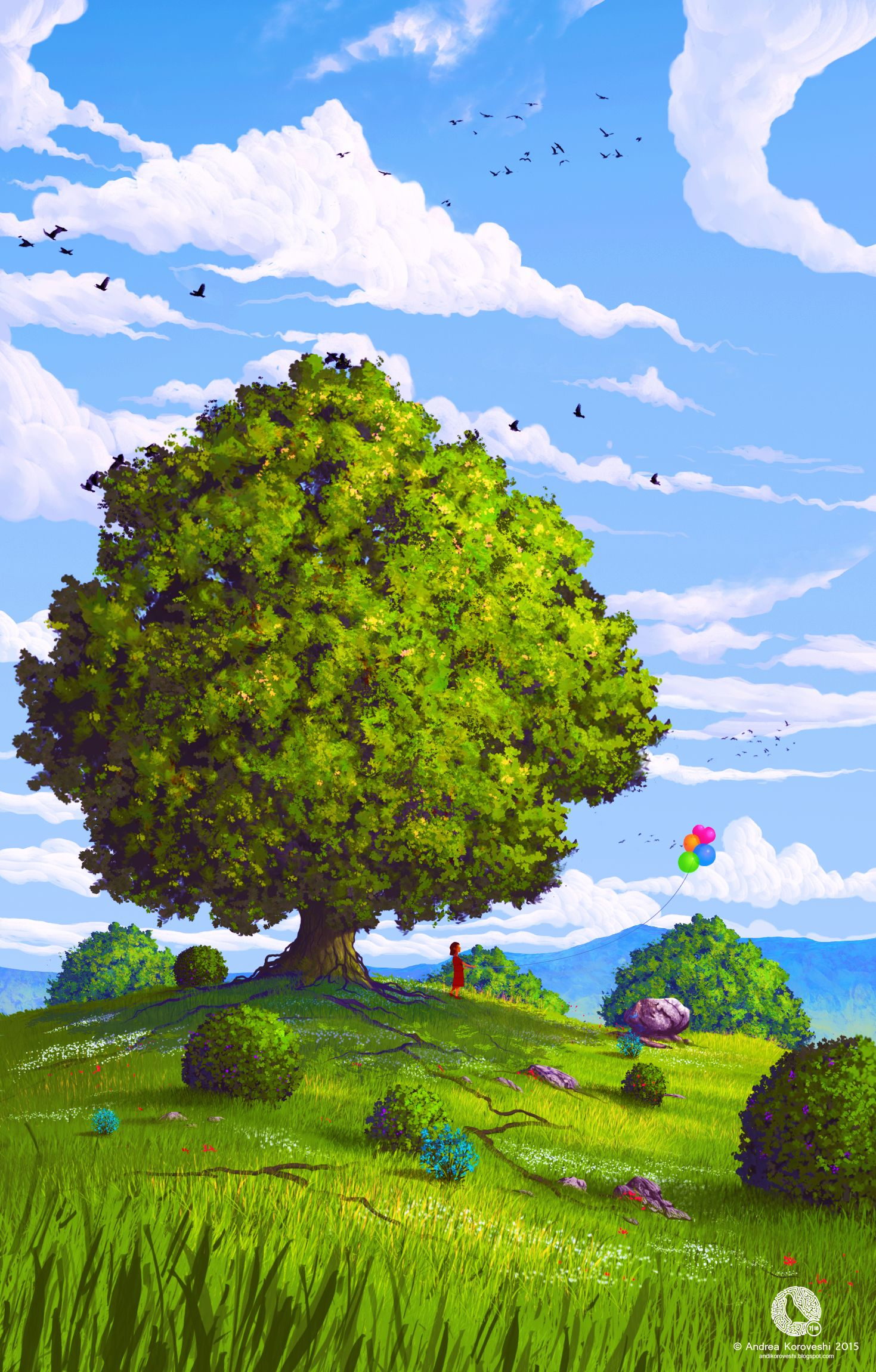 55999 download wallpaper Art, Summer, Balloons, Wood, Tree, Field, Child, Air Balloons screensavers and pictures for free