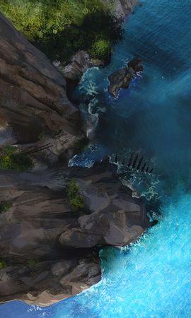 105721壁紙のダウンロードボート, 岩, 海洋, 大洋, 上から見る, アート-スクリーンセーバーと写真を無料で