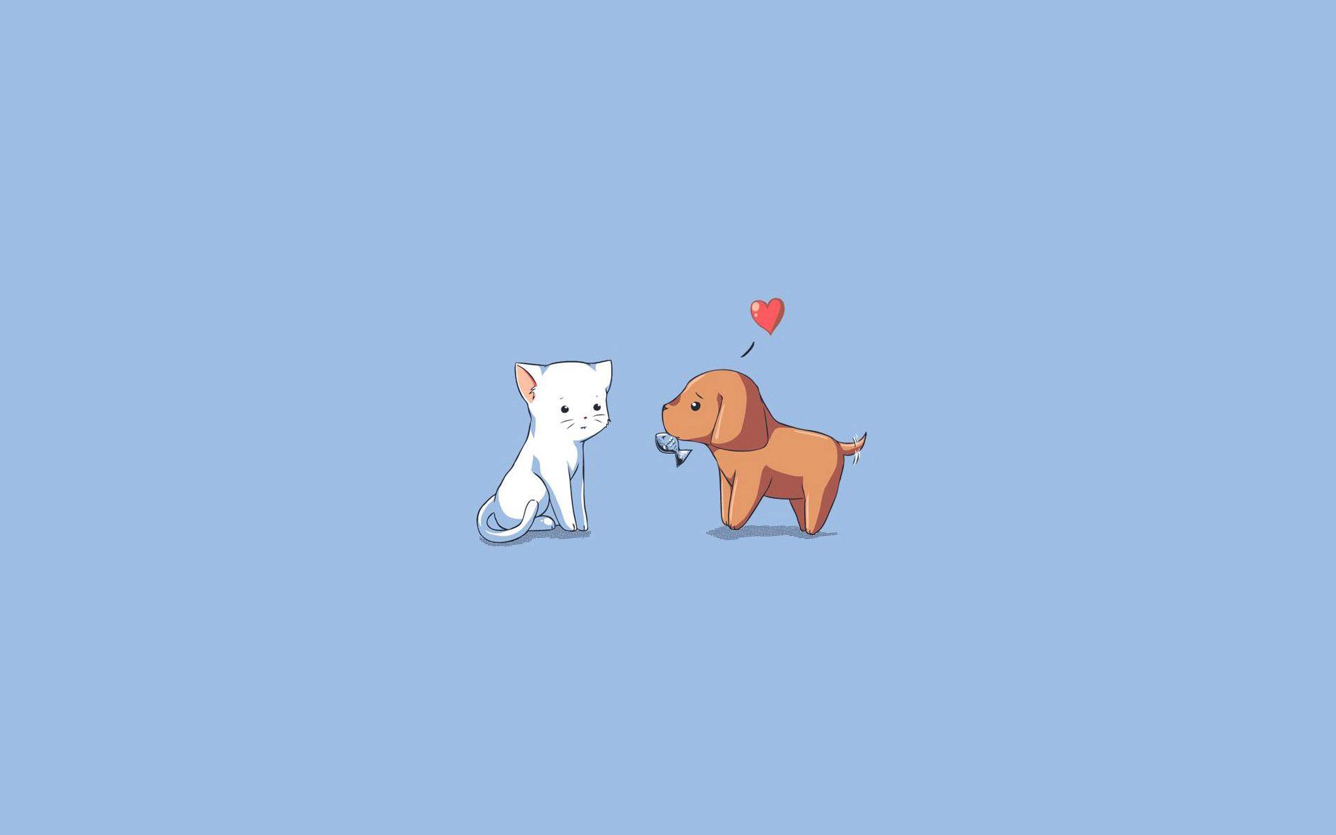 94743 скачать обои Сердце, Собака, Вектор, Рисунок, Щенок, Котенок, Кошка - заставки и картинки бесплатно