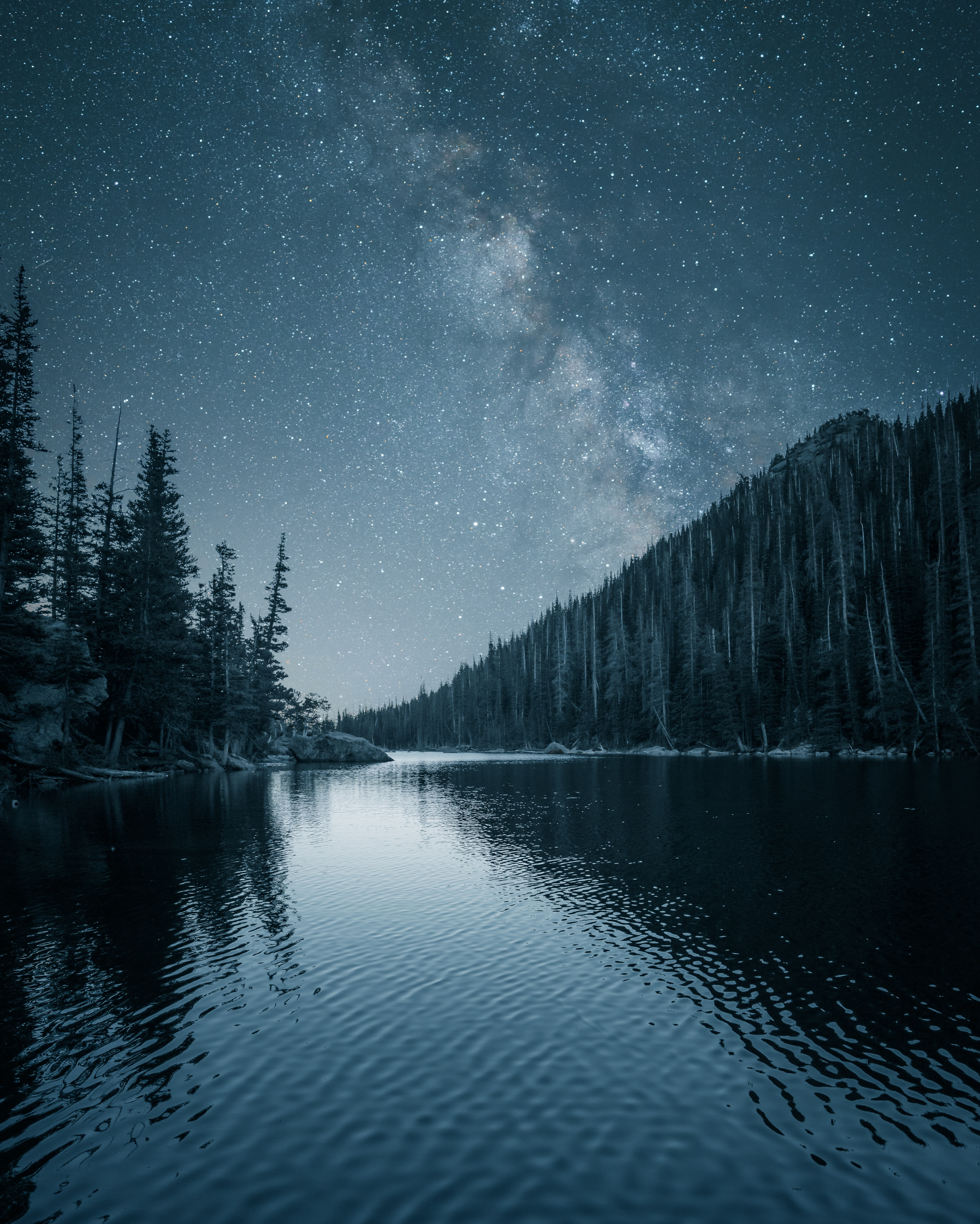 79001 download wallpaper Night, Landscape, Nature, Rivers, Trees, Starry Sky screensavers and pictures for free