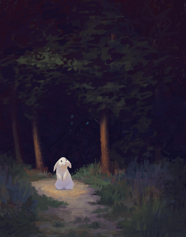 68763 Hintergrundbild herunterladen Kaninchen, Kunst, Dunkel, Wald, Nett, Schatz - Bildschirmschoner und Bilder kostenlos