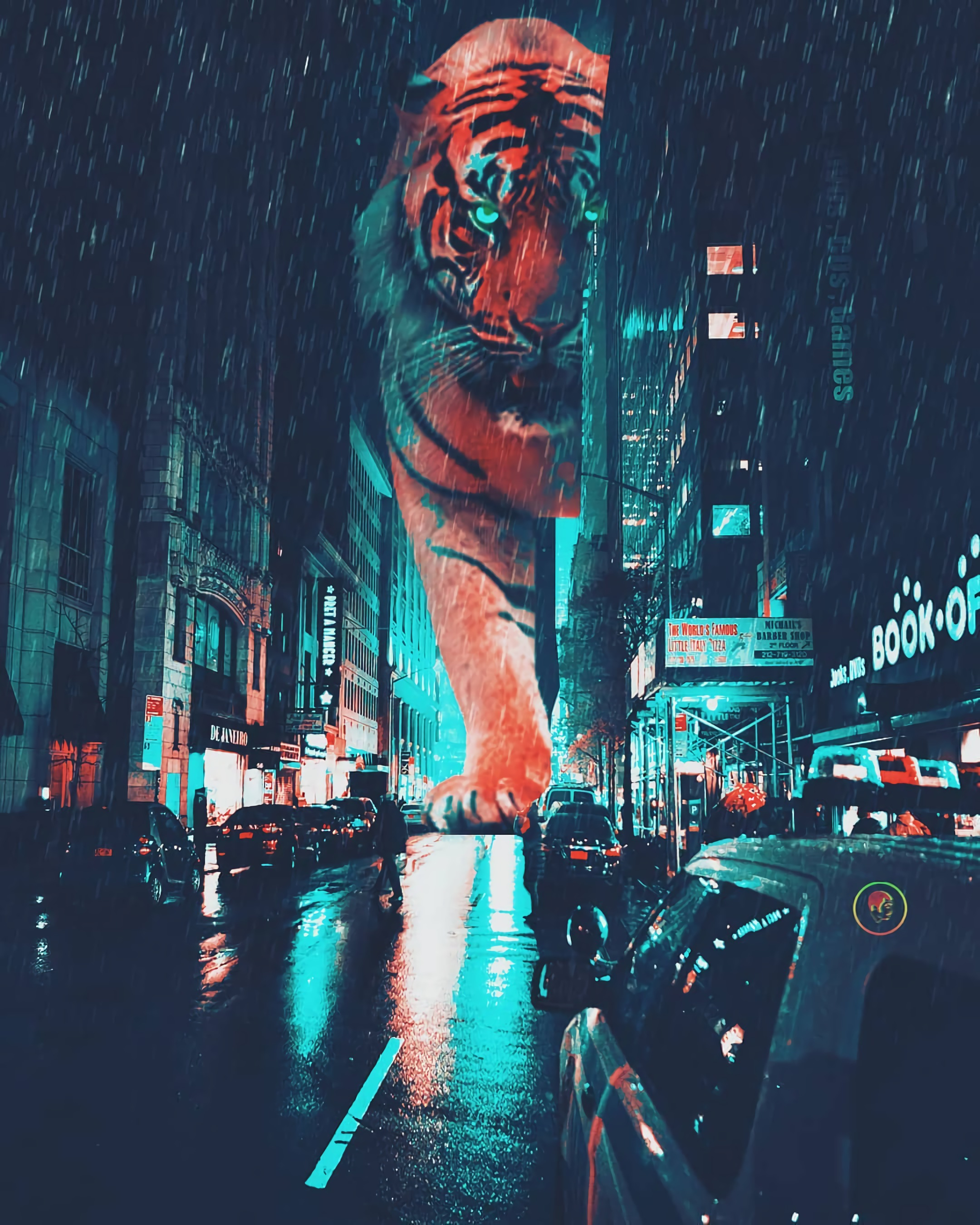 111572 download wallpaper Art, Tiger, Night City, Giant, Street, Neon screensavers and pictures for free