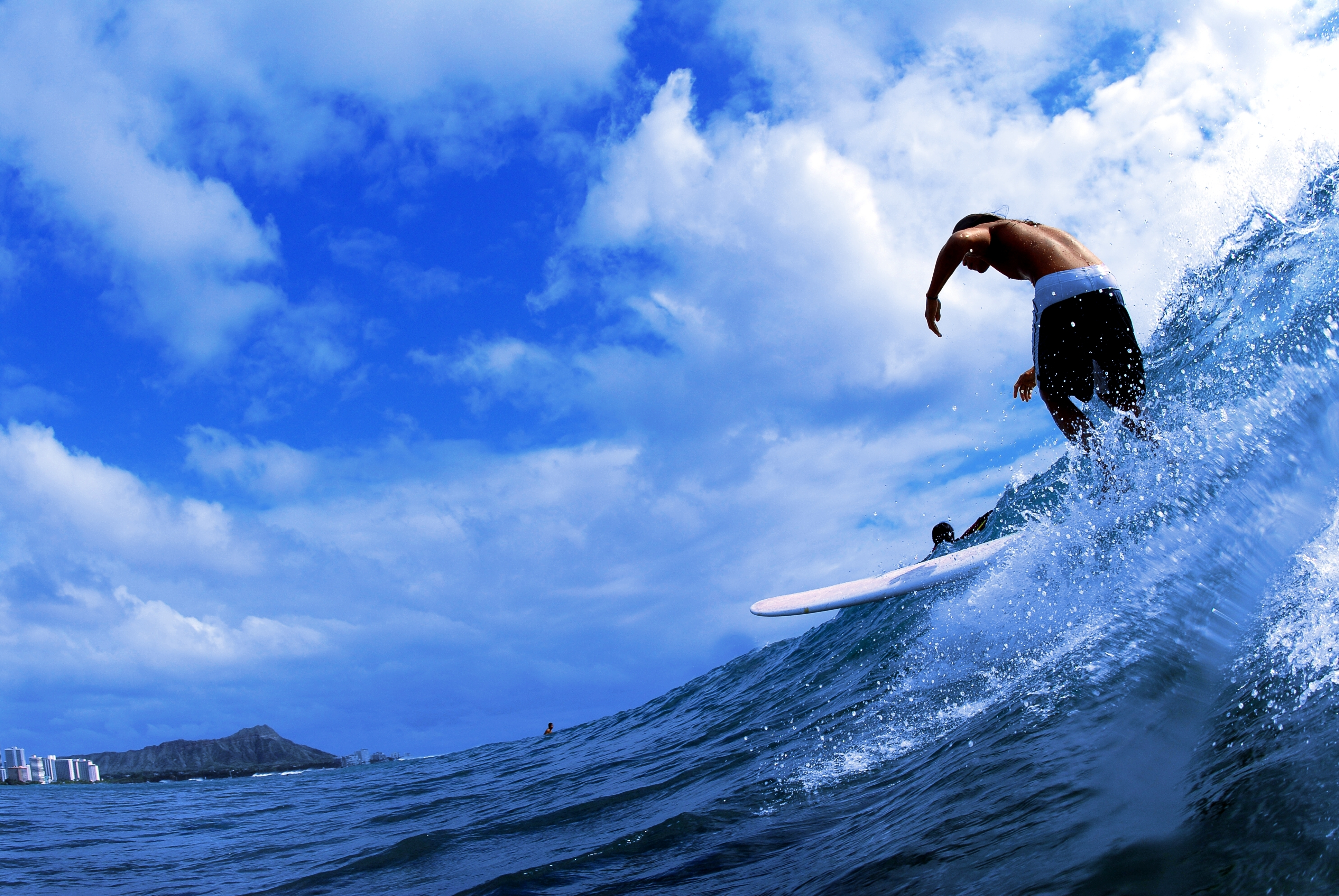 125404 Screensavers and Wallpapers Guy for phone. Download Sports, Sea, Clouds, Spray, Guy, Wave, Surfing pictures for free