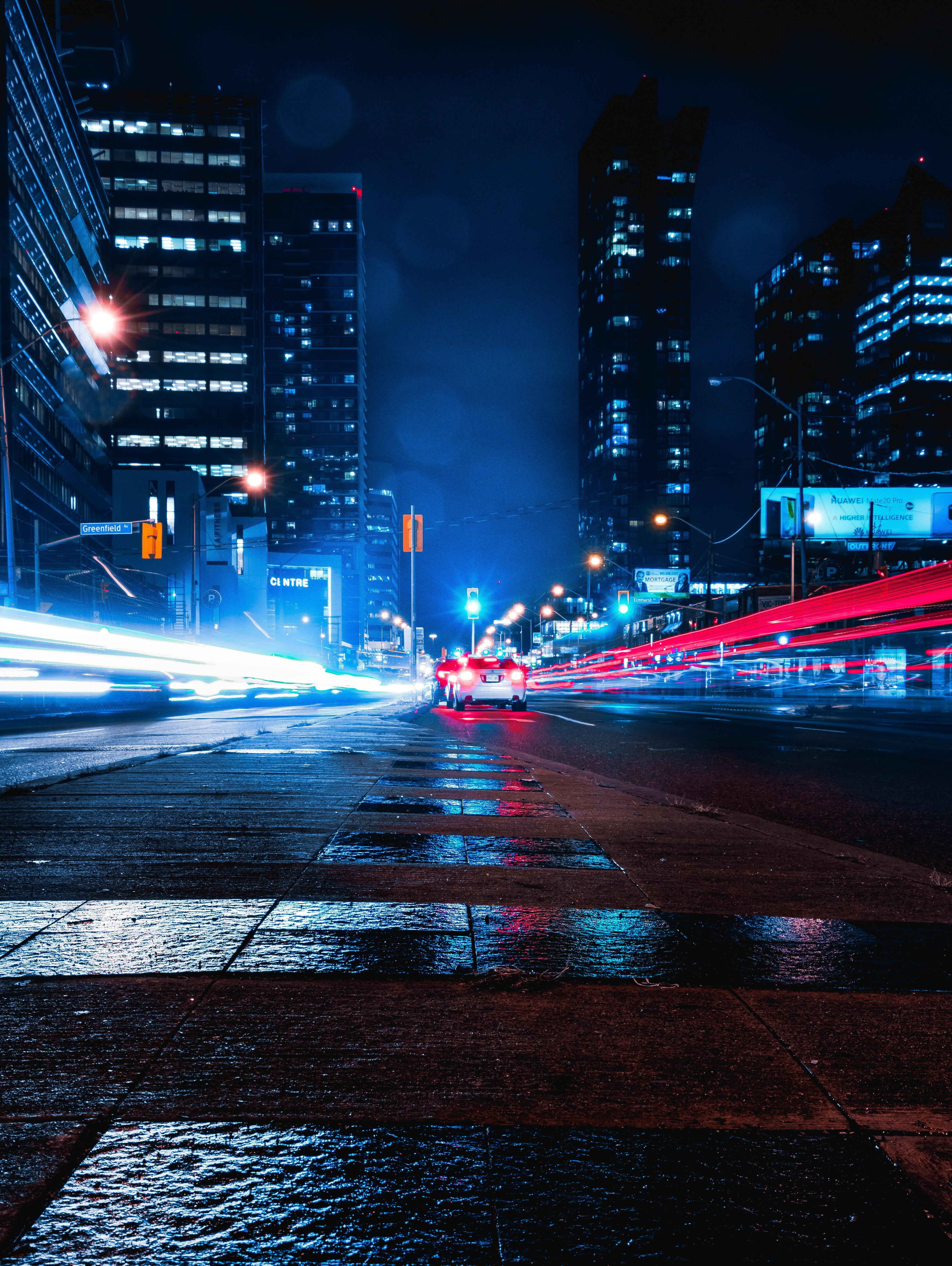102395 скачать обои Темные, Ночной Город, Дорога, Длинная Выдержка, Машины - заставки и картинки бесплатно