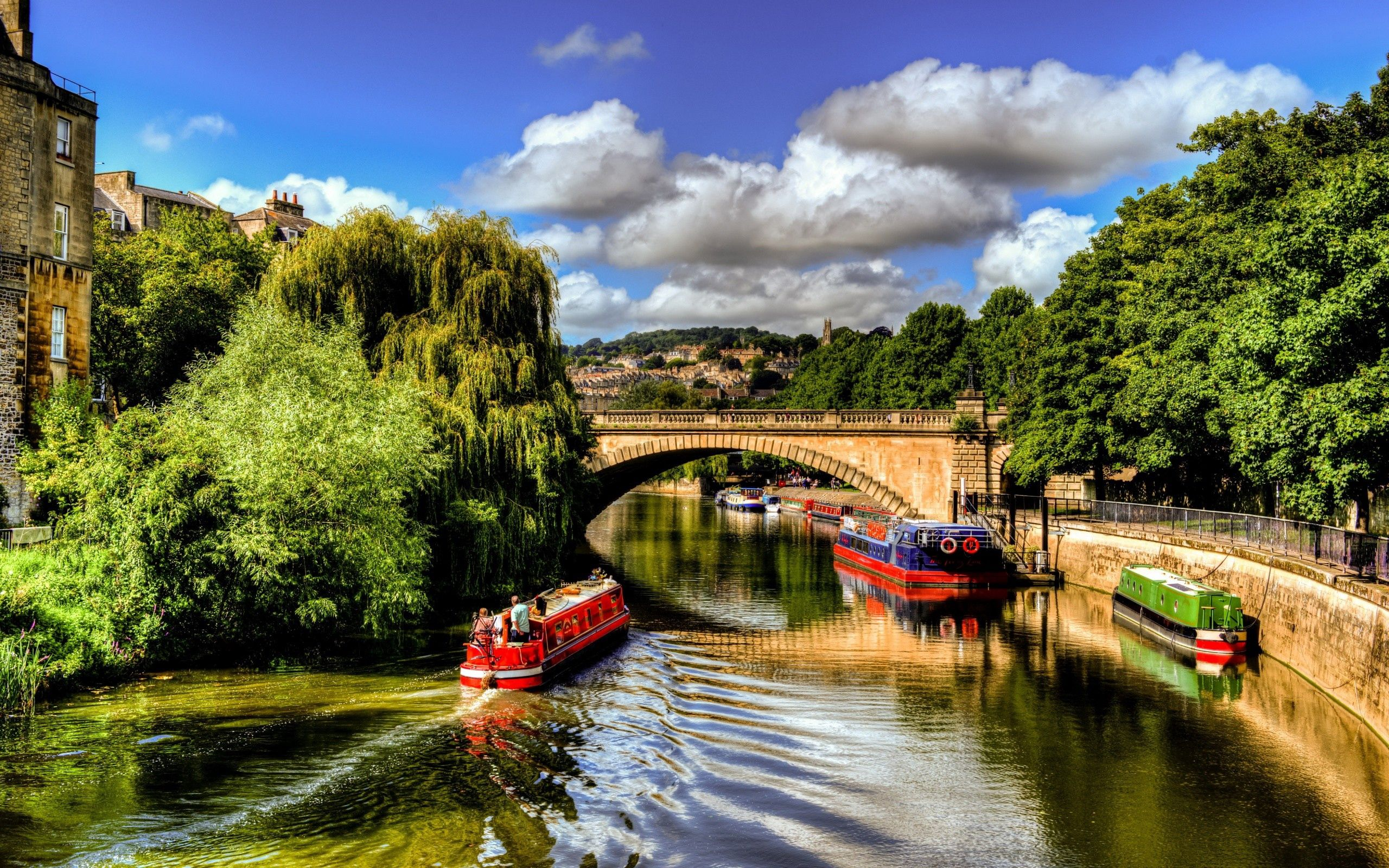 153694 download wallpaper Bridge, Trees, Summer, Ships, Cities screensavers and pictures for free