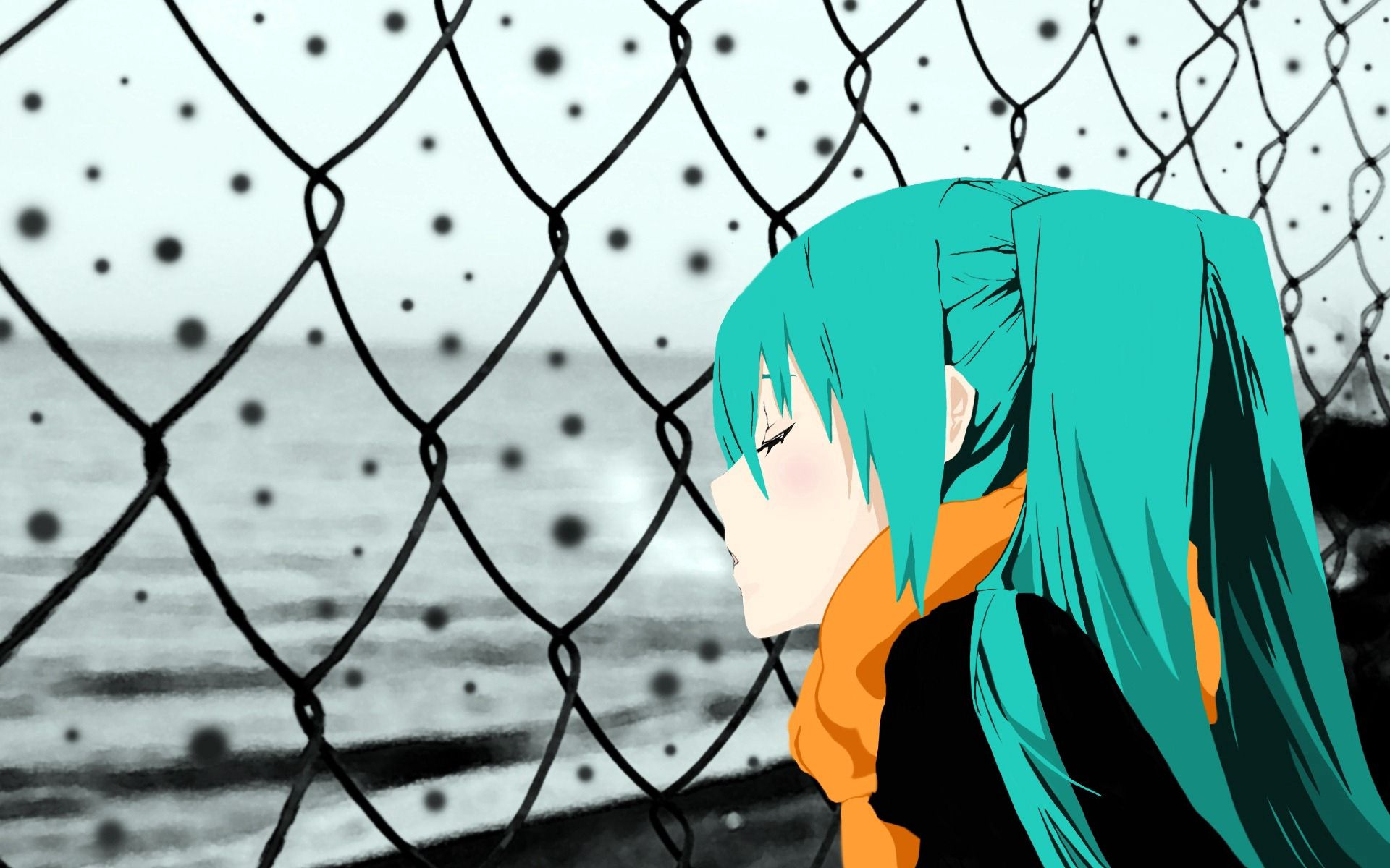 66905 Screensavers and Wallpapers Scarf for phone. Download Anime, Sadness, Fence, Girl, Sorrow, Scarf pictures for free
