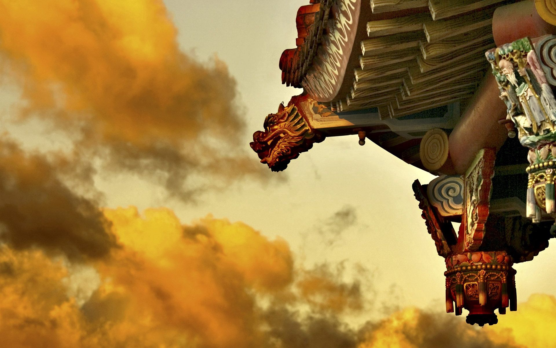 105275 скачать обои Разное, Крыша, Китая, Небо, Облака - заставки и картинки бесплатно