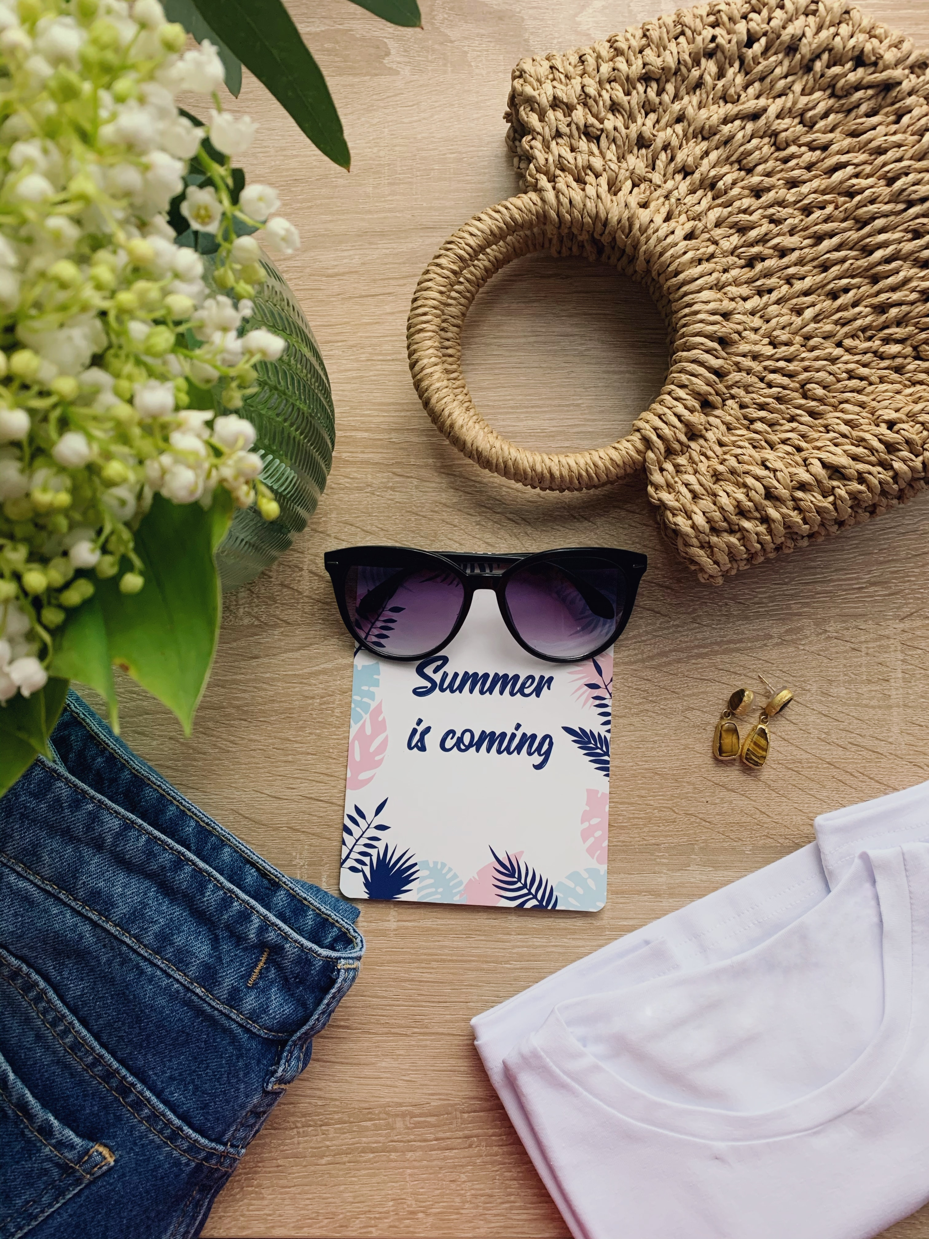 113788 download wallpaper Words, Summer, Inscription, Glasses, Spectacles, Bag, Clothing, Flowers screensavers and pictures for free