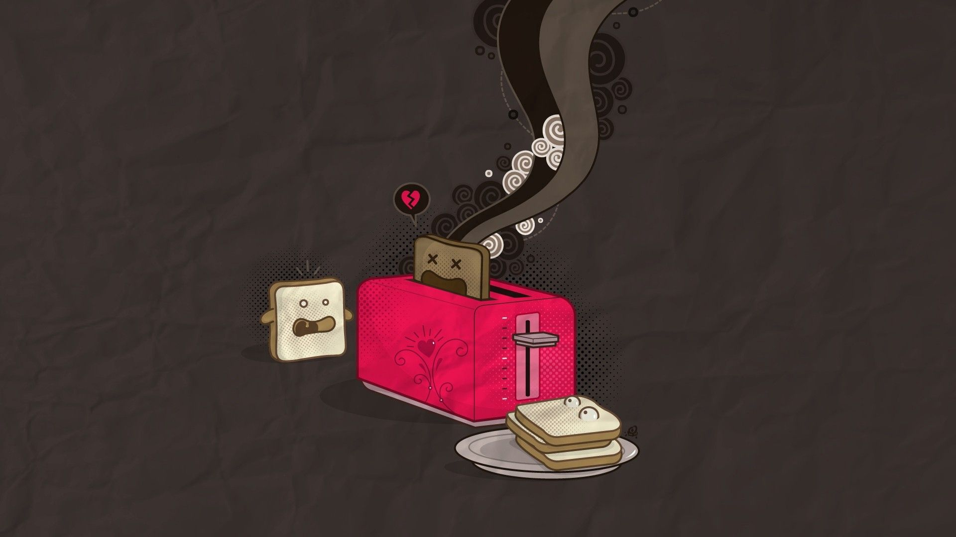 149387 download wallpaper Vector, Toaster, Smoke screensavers and pictures for free