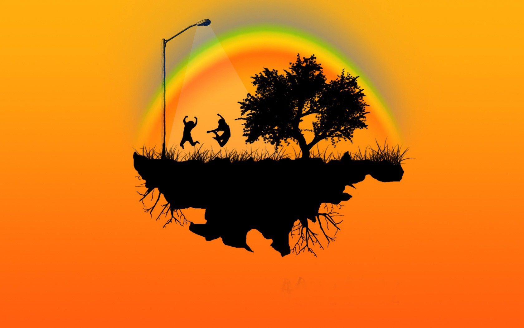 57660 download wallpaper Vector, Island, People, Emotions, Trees, Bounce, Jump screensavers and pictures for free