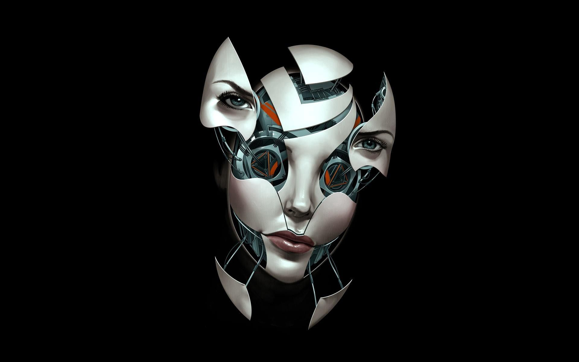 106381 Screensavers and Wallpapers Robot for phone. Download Abstract, Dark Background, Robot, Shards, Smithereens, Compound, Face pictures for free