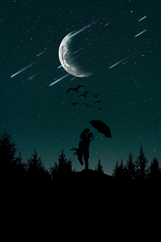 142576 Заставки и Обои Любовь на телефон. Скачать Пара, Силуэты, Звездное Небо, Любовь, Зонт, Луна, Деревья, Ночь картинки бесплатно