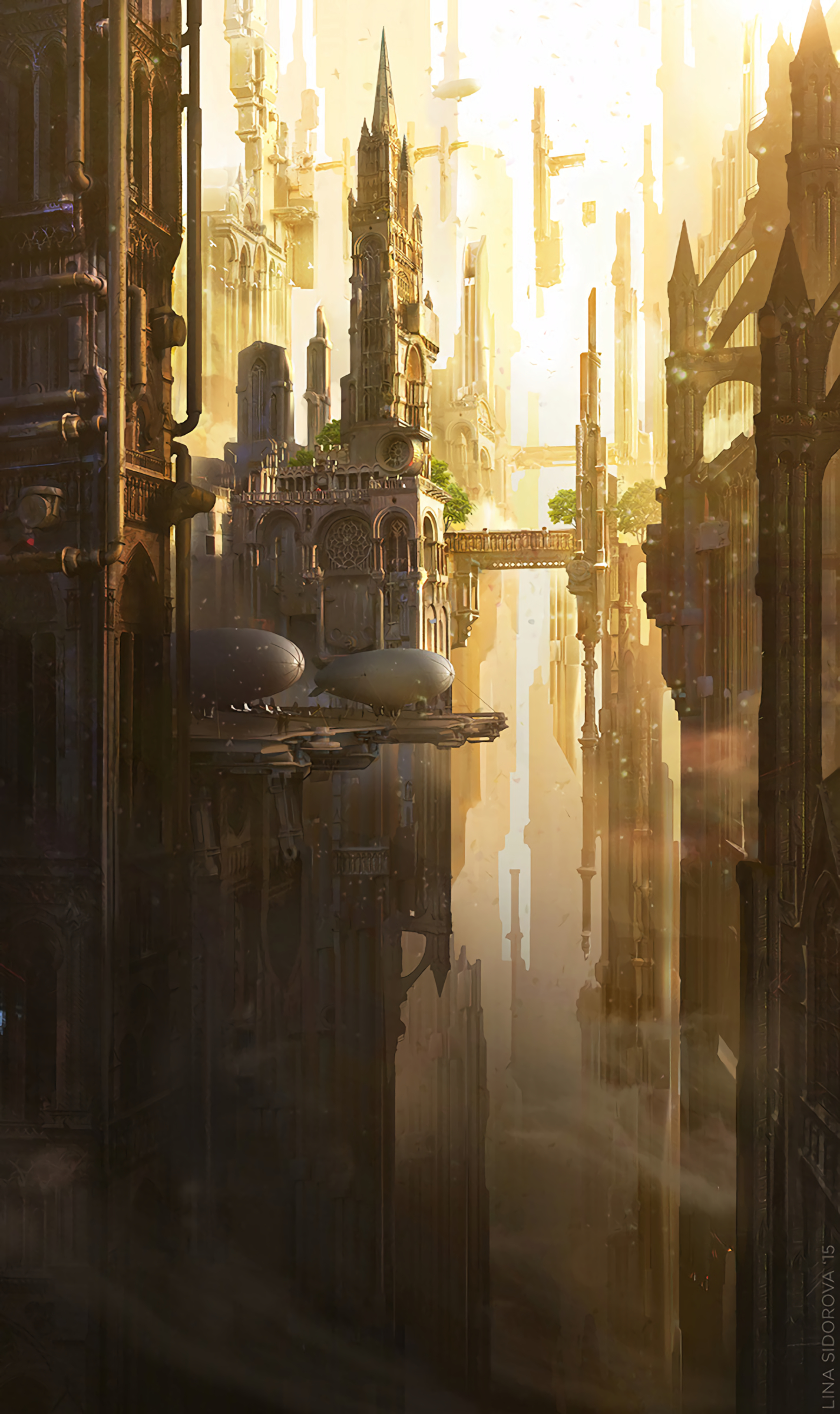 153623 Screensavers and Wallpapers Fiction for phone. Download Art, Architecture, City, Building, Fiction, That's Incredible, Airships pictures for free