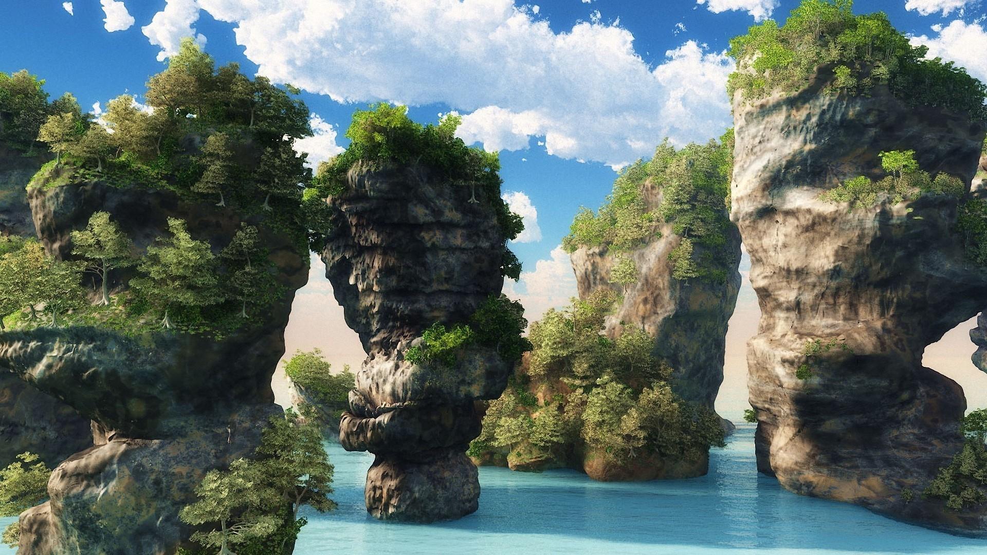 25714 скачать обои Пейзаж, Горы, Море, Облака - заставки и картинки бесплатно