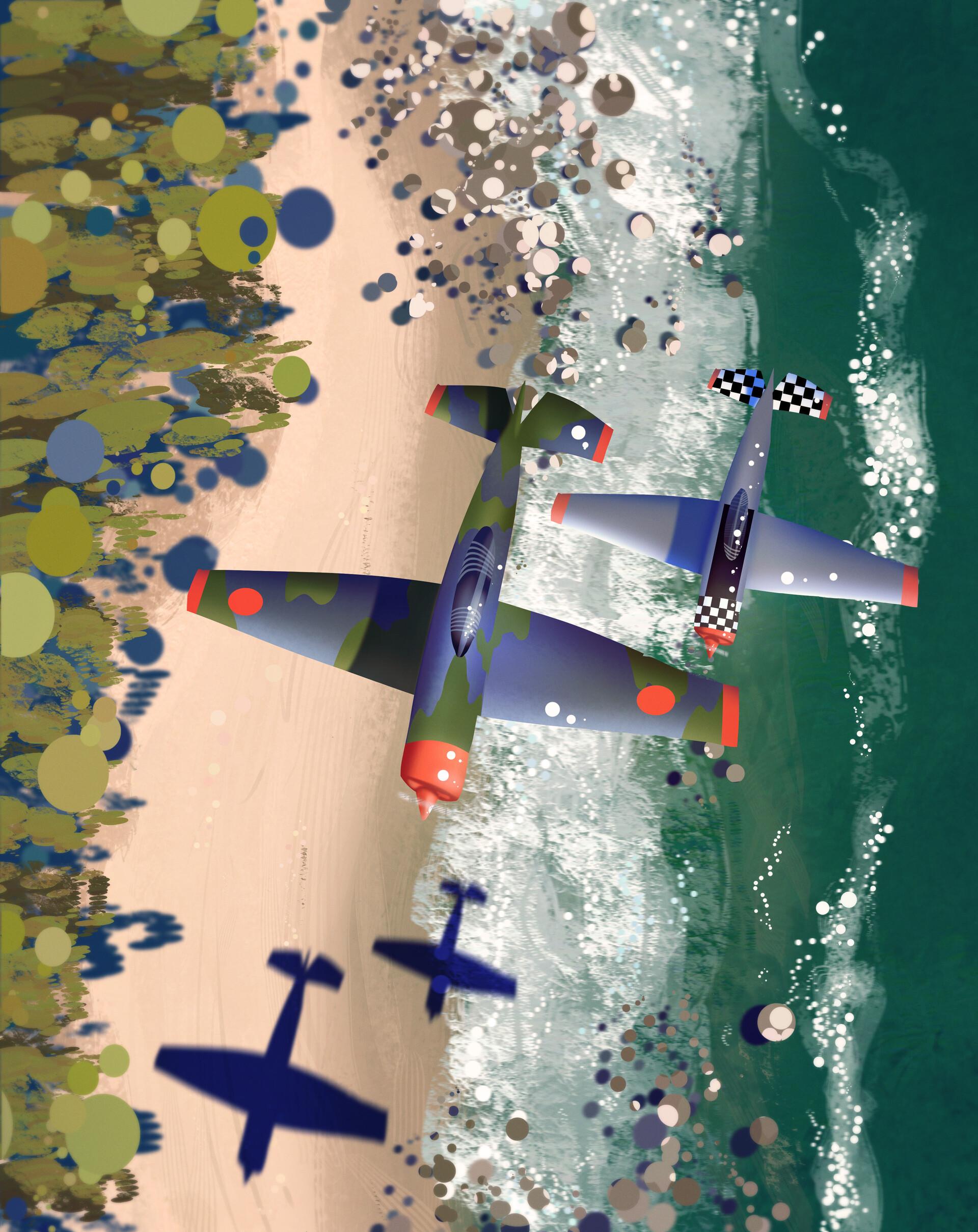 110376 скачать обои Полет, Вид Сверху, Арт, Самолеты - заставки и картинки бесплатно