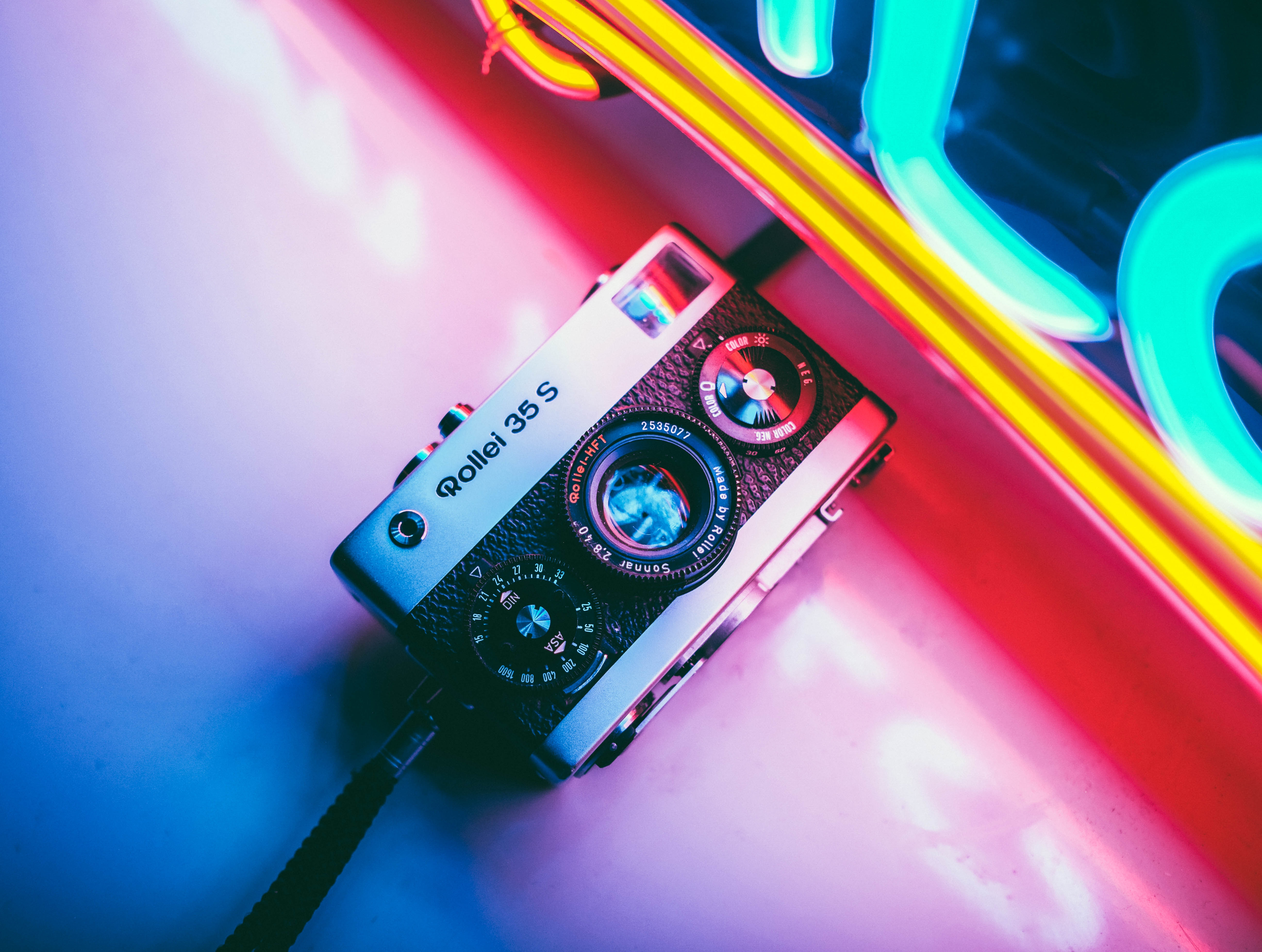 56985 download wallpaper Shine, Light, Multicolored, Motley, Neon, Retro, Technologies, Technology, Camera screensavers and pictures for free